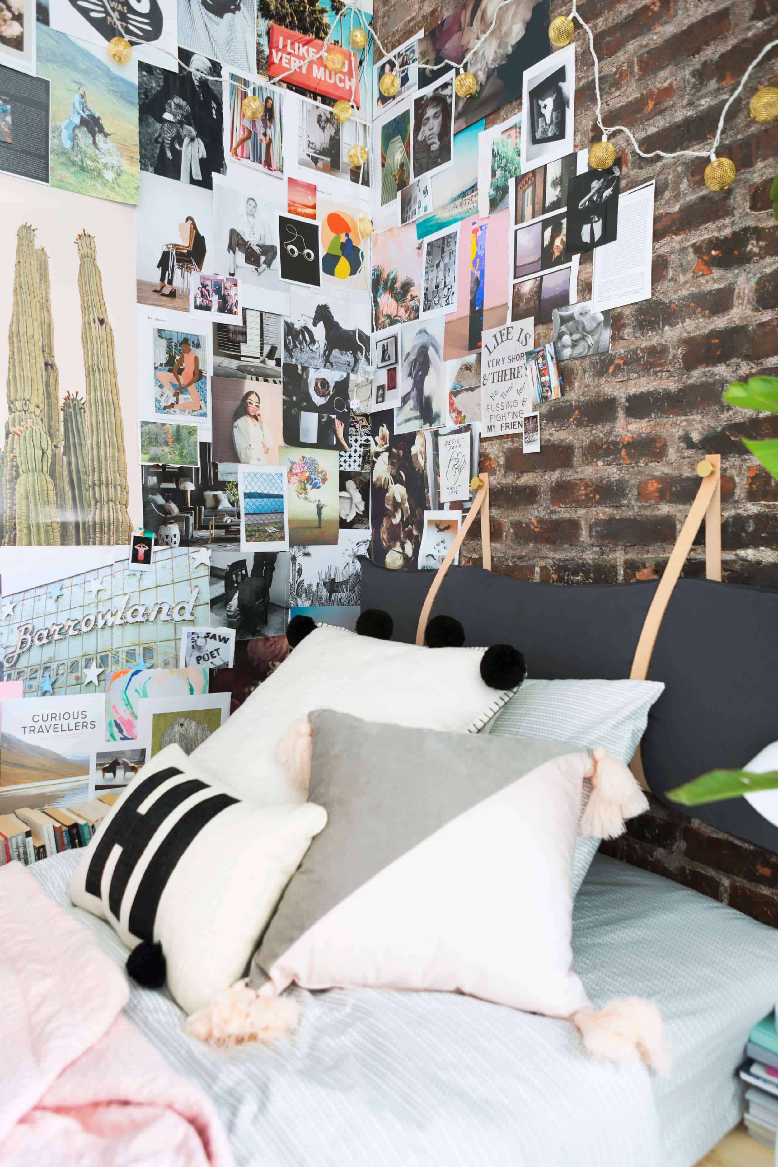 Emily Henderson Target Dorm Room Back To School Boho Eclectic Collage Wall Rocker Chic Musician Artistic Cinderblock Bed Leather Strap Headboard Diy 35