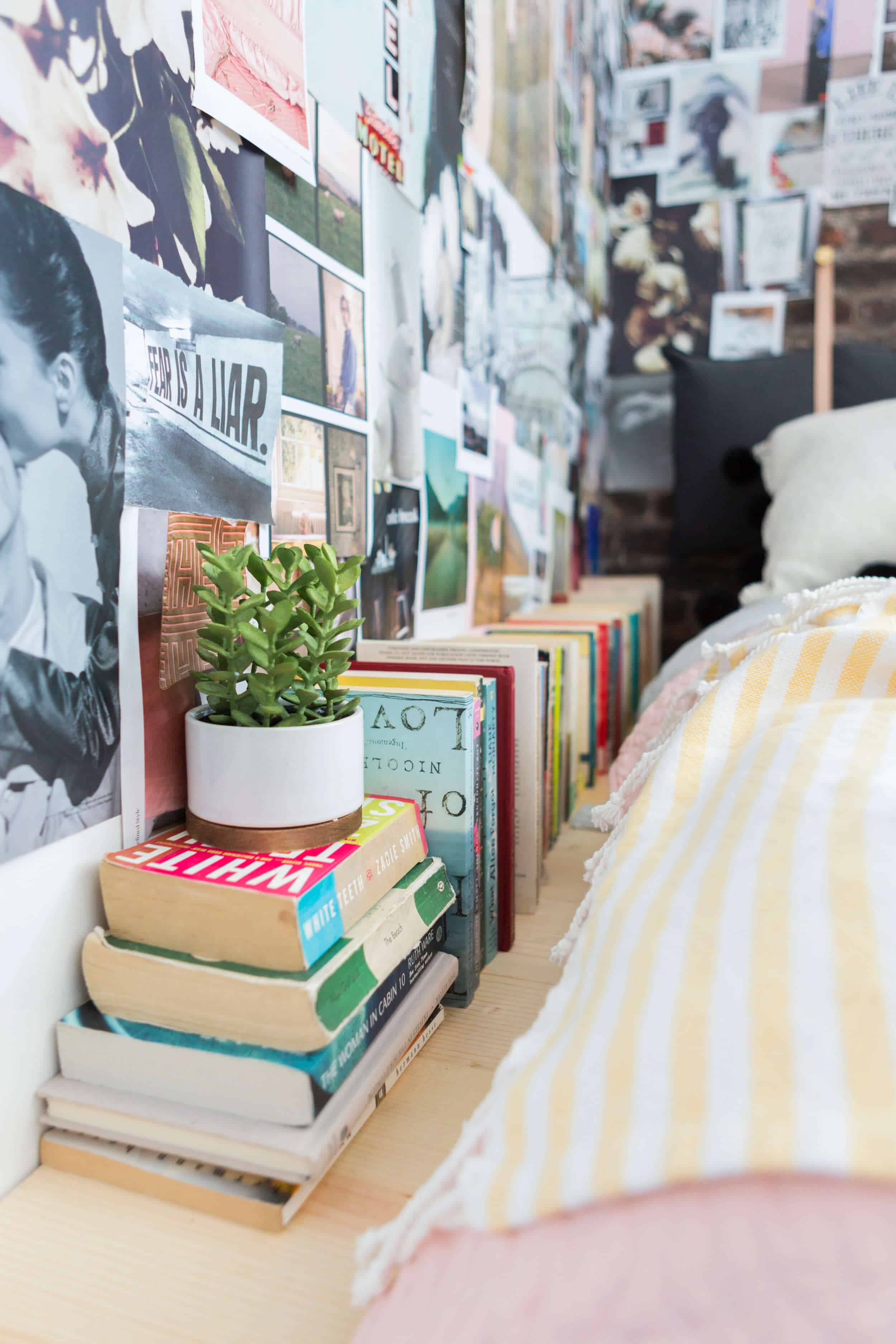 Emily Henderson Target Dorm Room Back To School Boho Eclectic Collage Wall Rocker Chic Musician Artistic Cinderblock Bed Leather Strap Headboard Diy 44