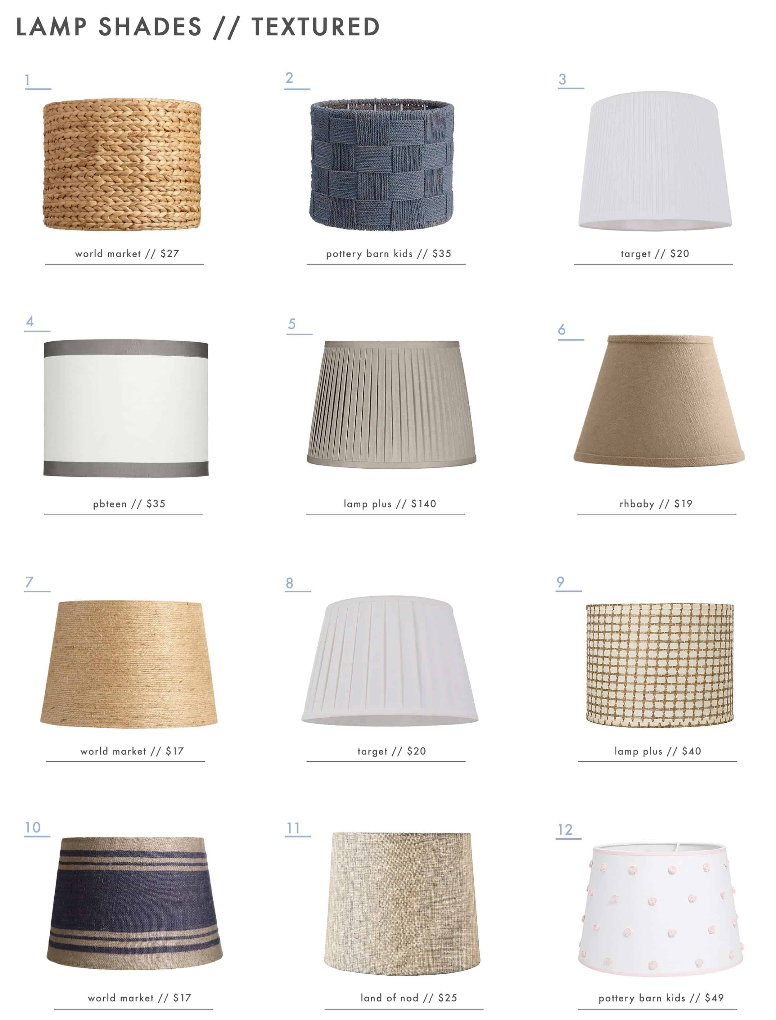 Emily Henderson Textured Patterned Colorful Lamp Shades Textured