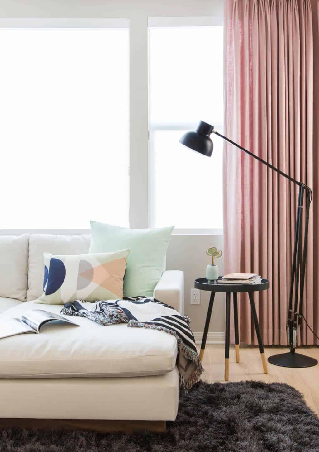 Emily Henderson Design Milk Modern Pink Black And White Jaimie Derringer Living Room Reveal 10