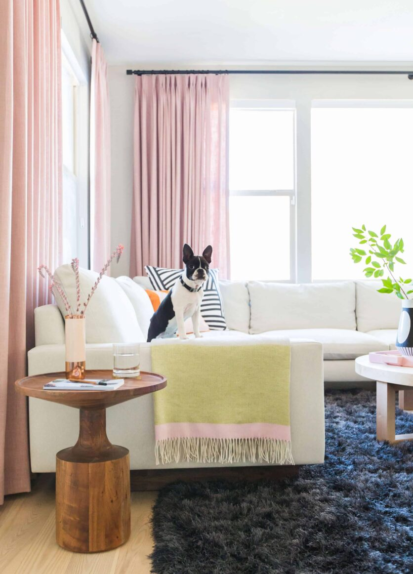Emily Henderson Design Milk Modern Pink Black And White Jaimie Derringer Living Room Reveal 5