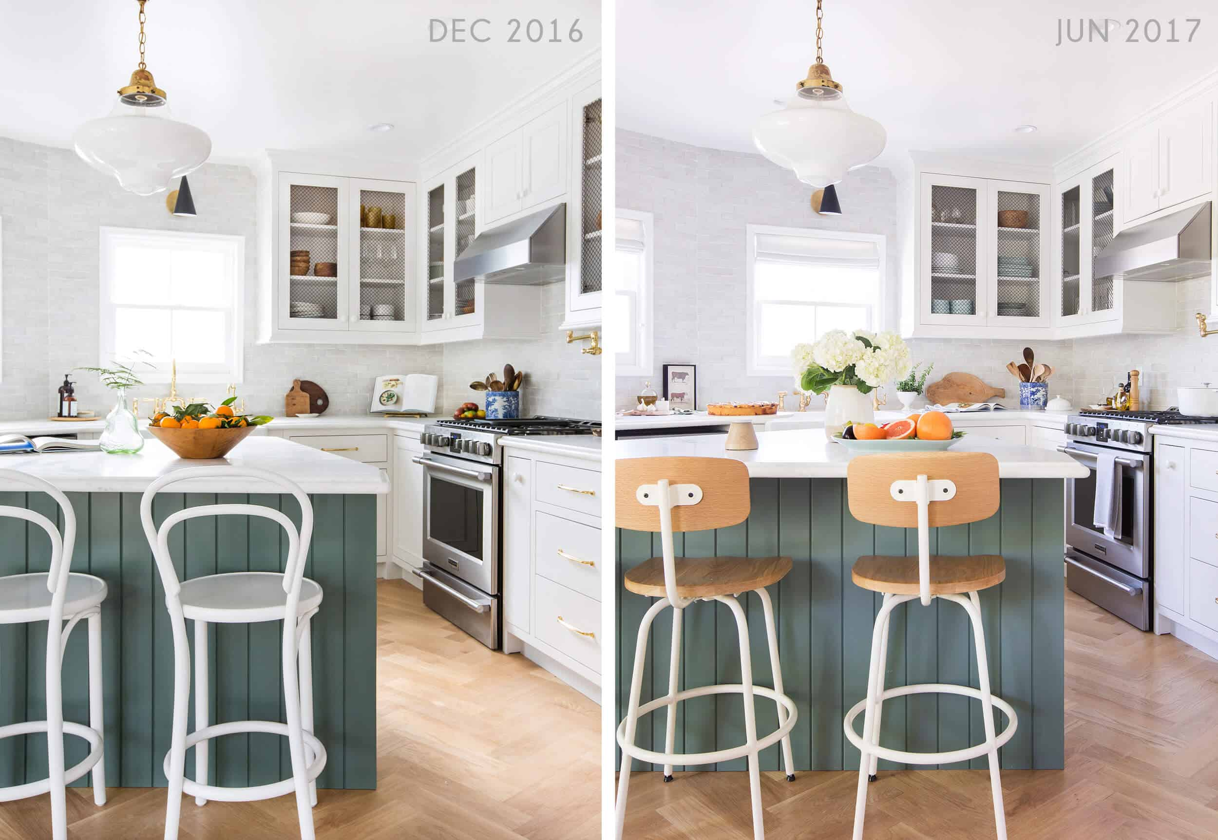 Emily Henderson Emilys House Modern English Tudor Kitchen Reveal Stool Side By Side 1 1