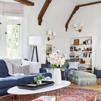 Emily Henderson Modern English Cottage Tudor Living Room Reveal9