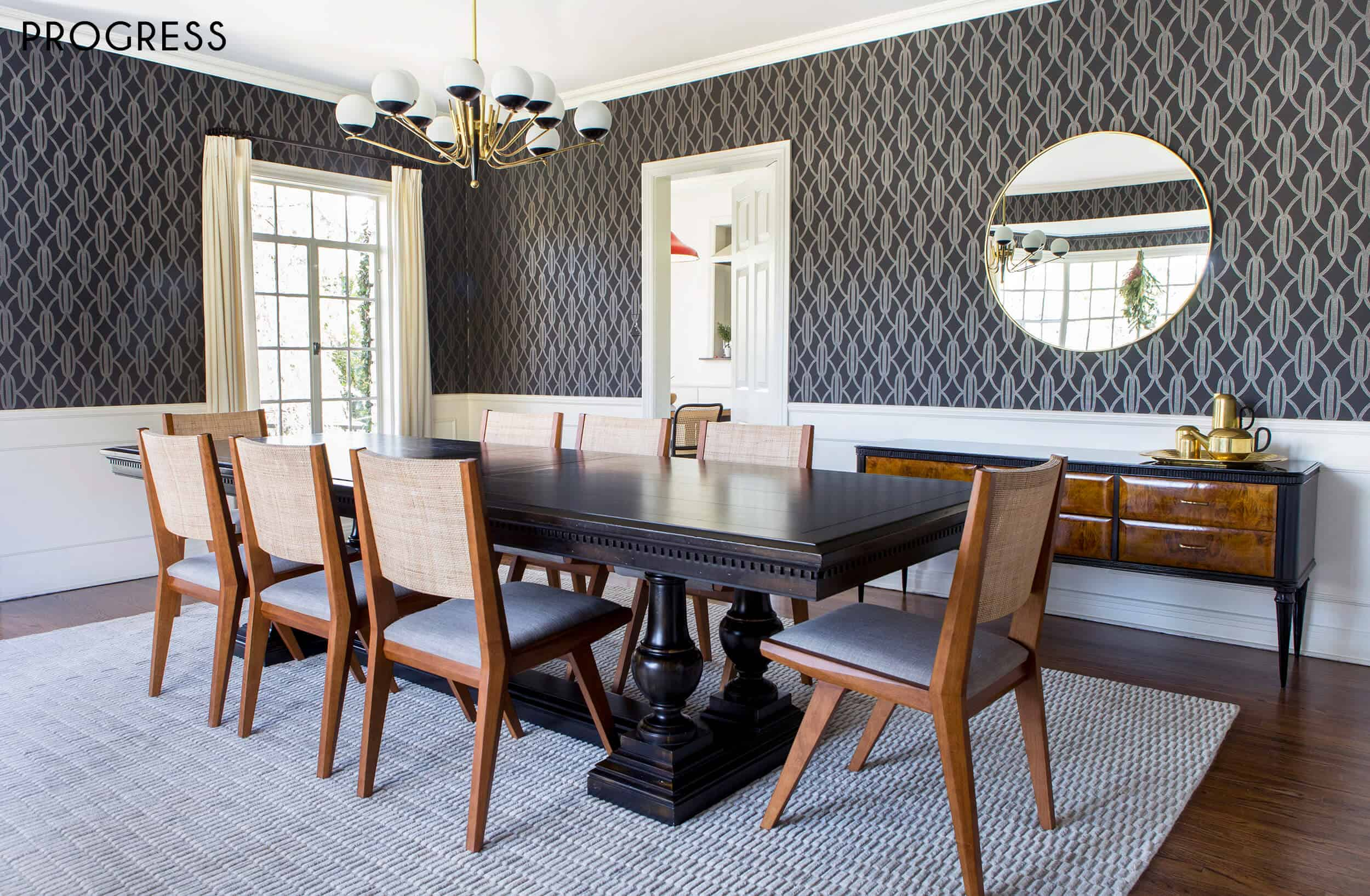Emily Henderson Griffith Park Home Traditional Italian Mid Century Dining Room Progress 4