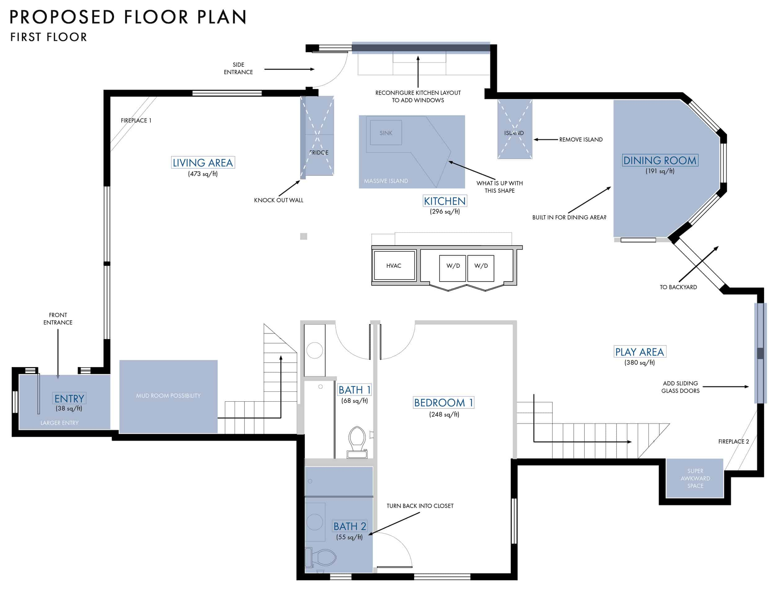 Emily Henderson Lake House Floor Plan First Floor Entire Floor Changes 01