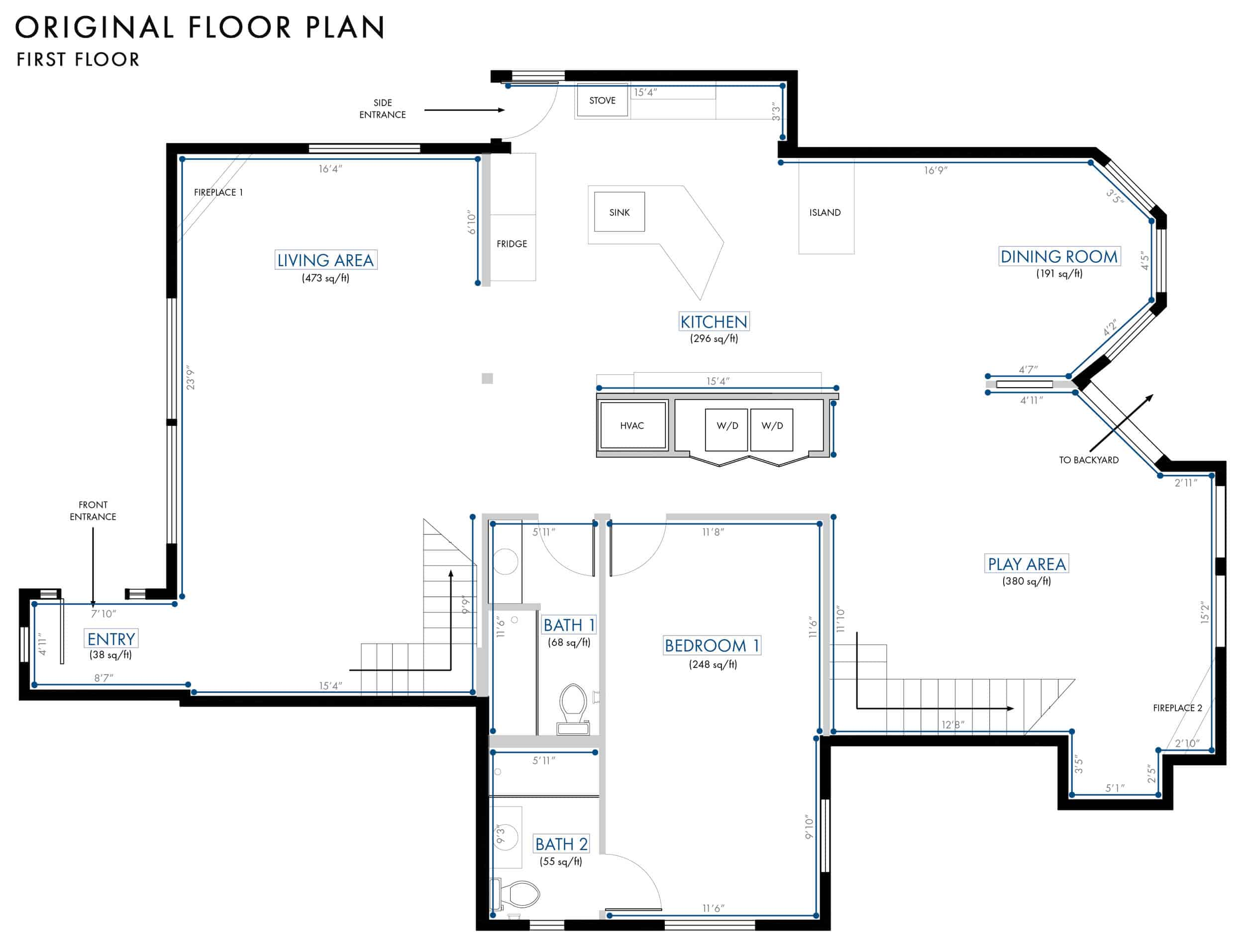 Emily Henderson Lake House Floor Plan First Floor Entire Floor Wall Dimensions 01