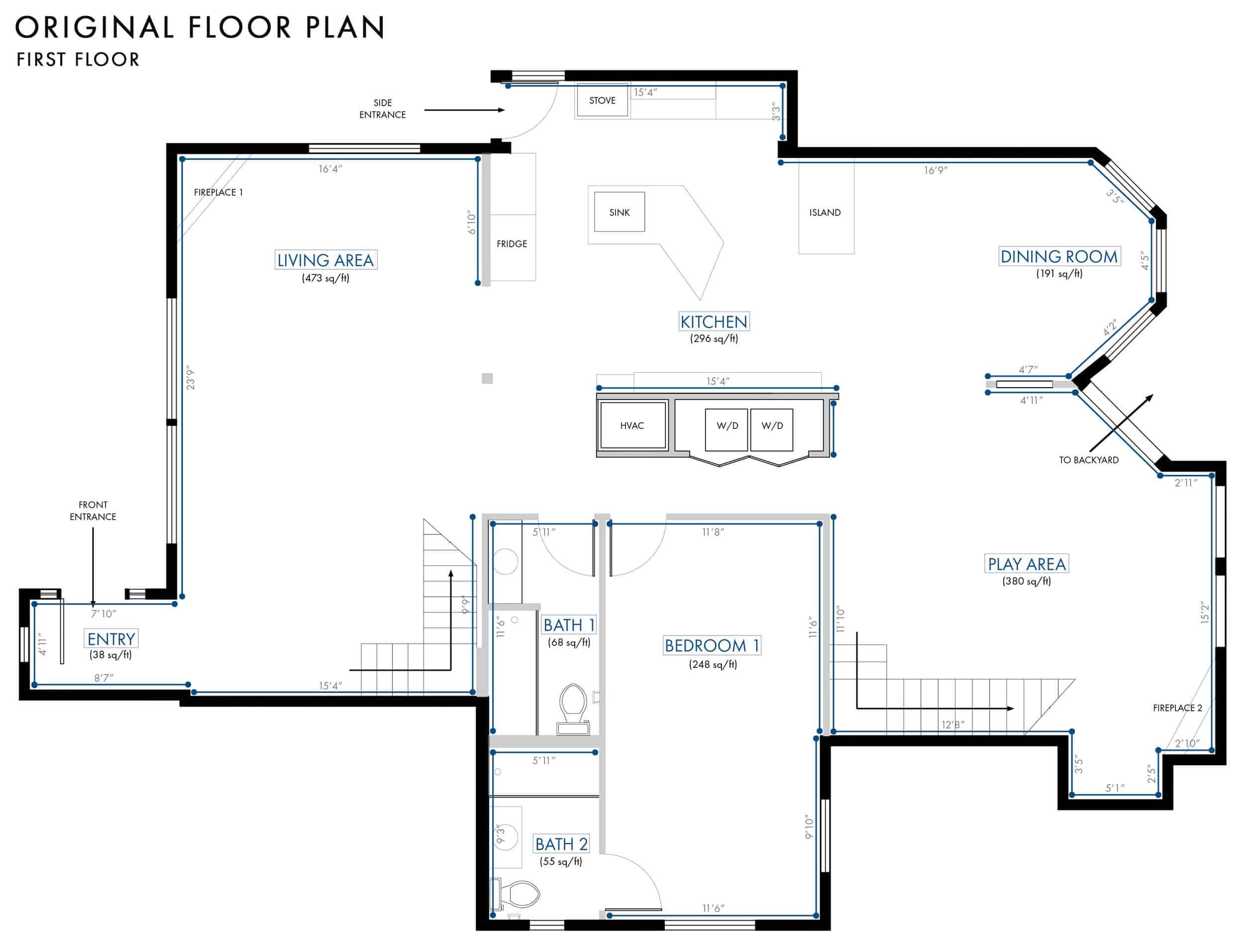Emily Henderson Lake House Floor Plan First Floor Entire Floor Wall Dimensions 01