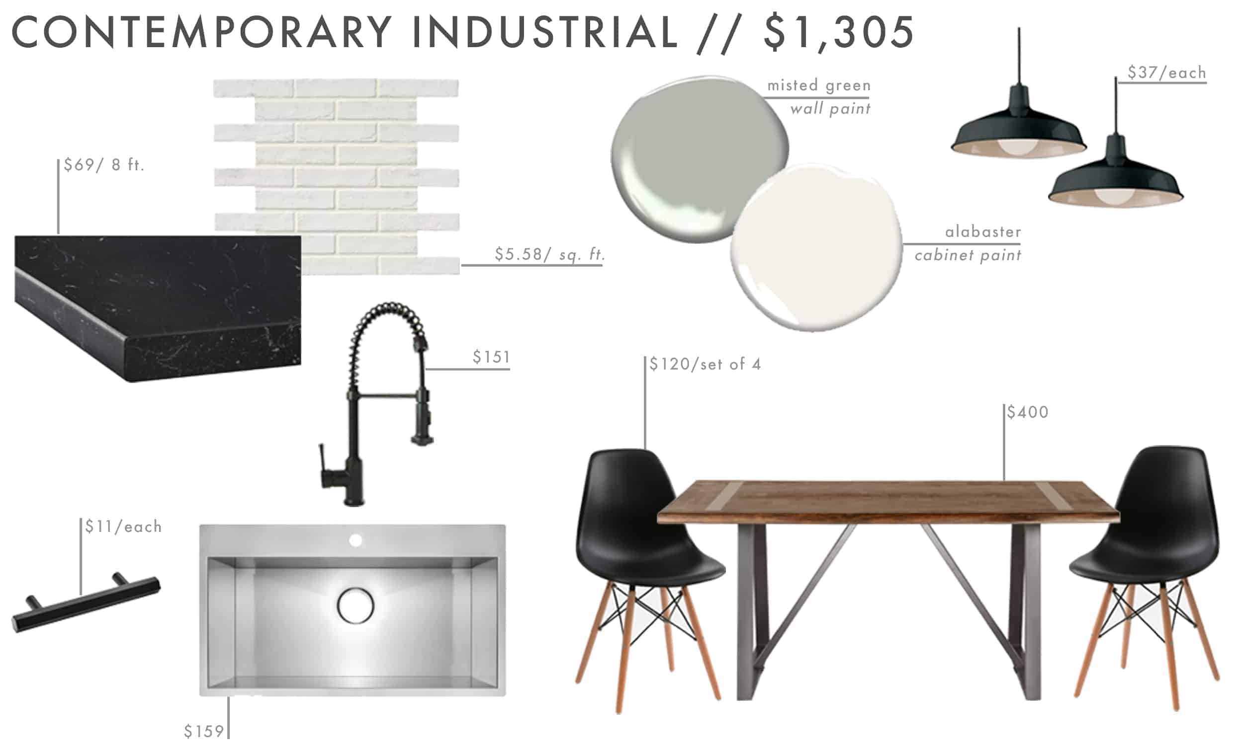 Emily Henderson Roundup Affordable Kitchen Budget Friendly Moodboard Contemporary Industrial 01