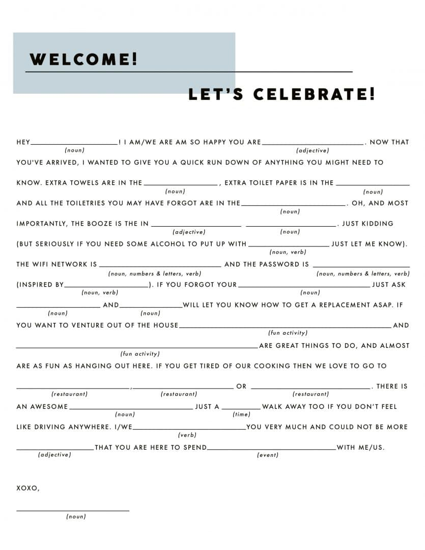Emily Henderson Holiday Hostess Checklist Fill In The Blank Blue