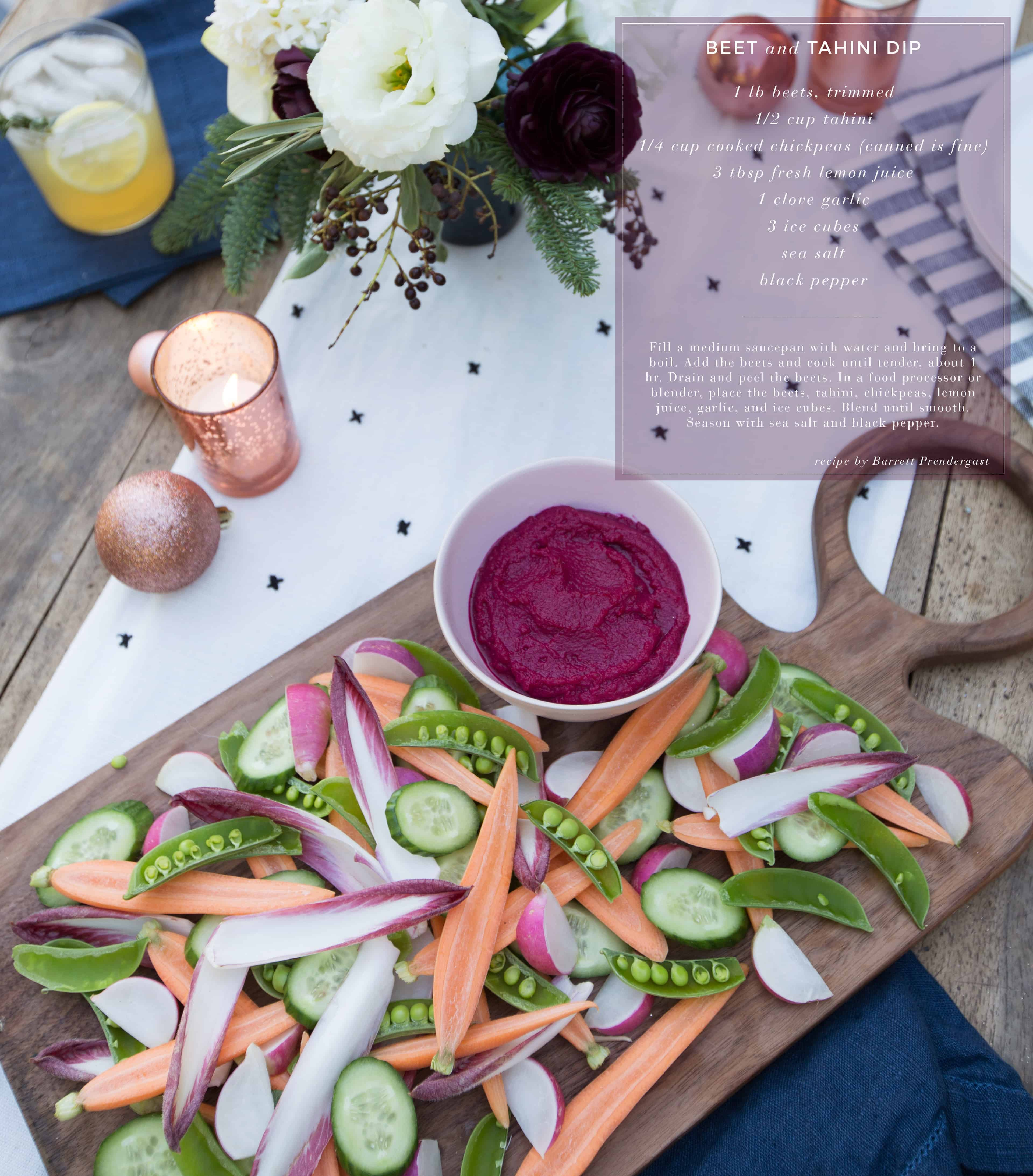 Emily Henderson Waverly Modern English Tudor Holiday Gathering Party Patio Recipe Beet Dip Recipe Card With Photo Name