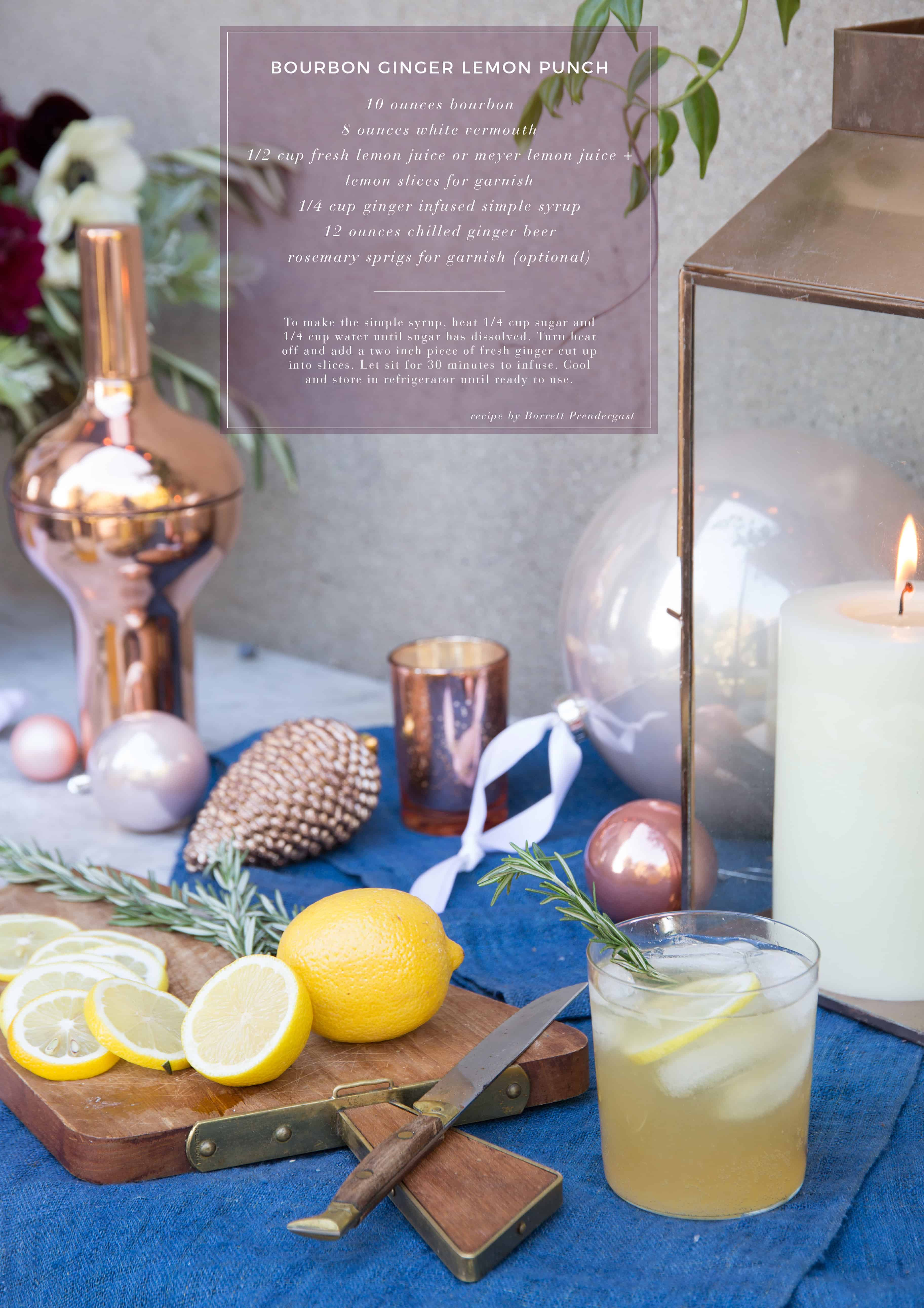 Emily Henderson Waverly Modern English Tudor Holiday Gathering Party Patio Recipe Bourbon Ginger Lemon Punch Recipe Card With Photo Name