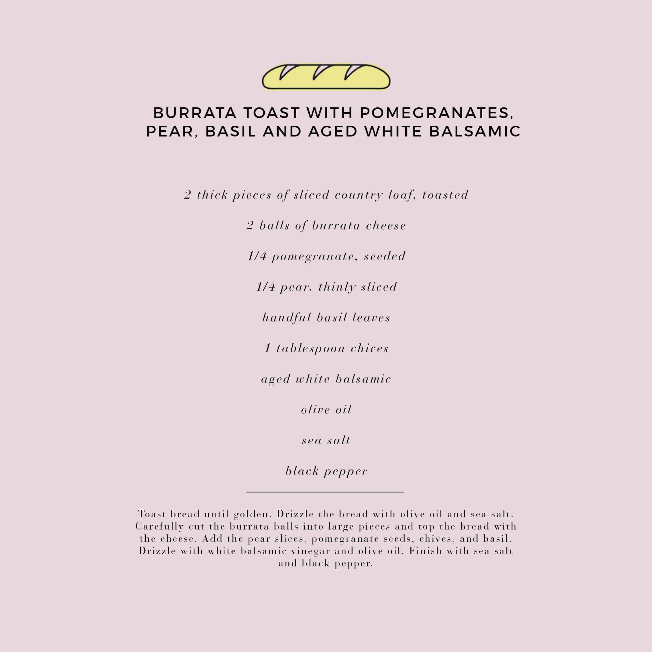 Emily Henderson Waverly Modern English Tudor Holiday Gathering Party Patio Recipe Burrata Toast Recipe Card
