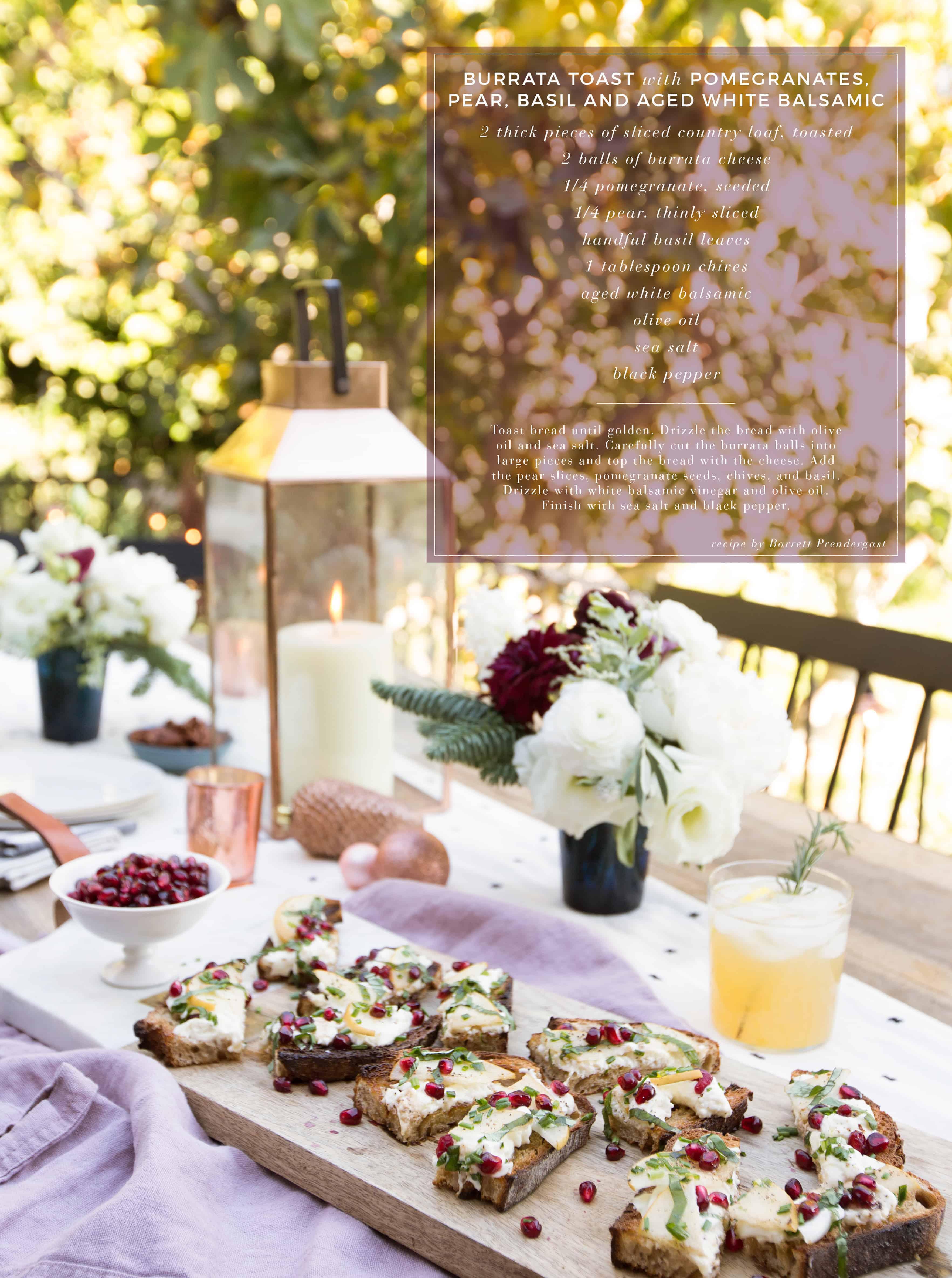 Emily Henderson Waverly Modern English Tudor Holiday Gathering Party Patio Recipe Burrata Toast Recipe Card With Photo Name