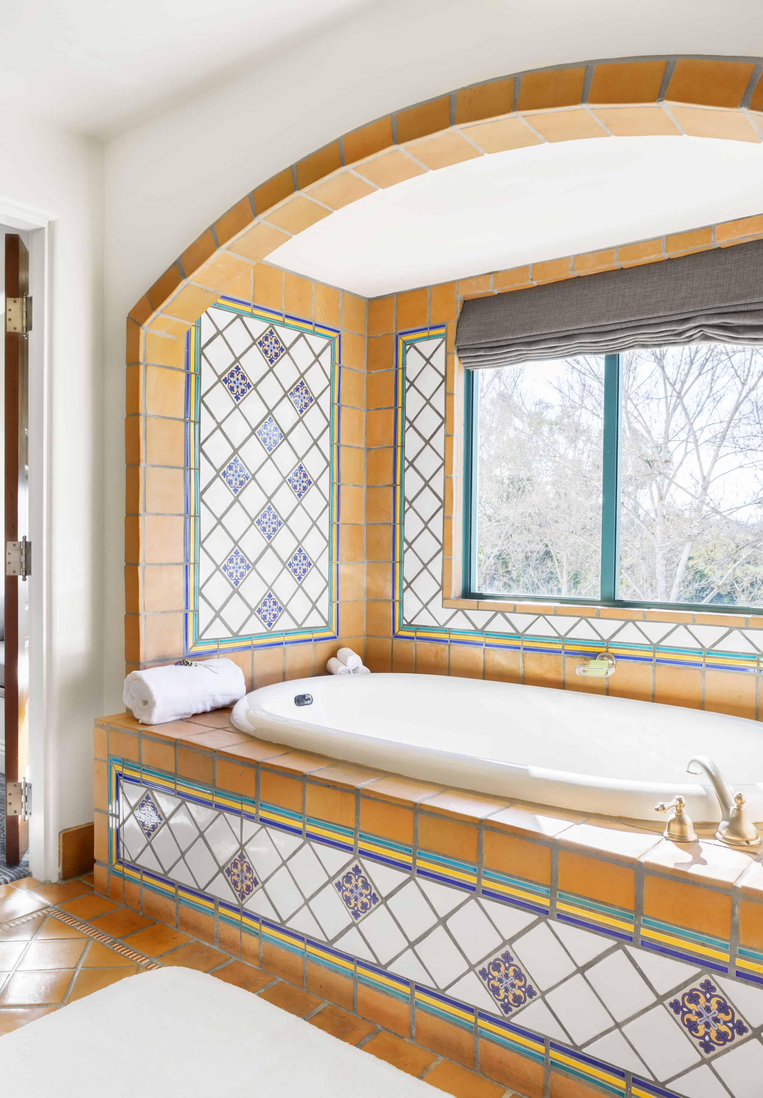 Spanish Inspired Master Bathroom Terra Cotta Tiles