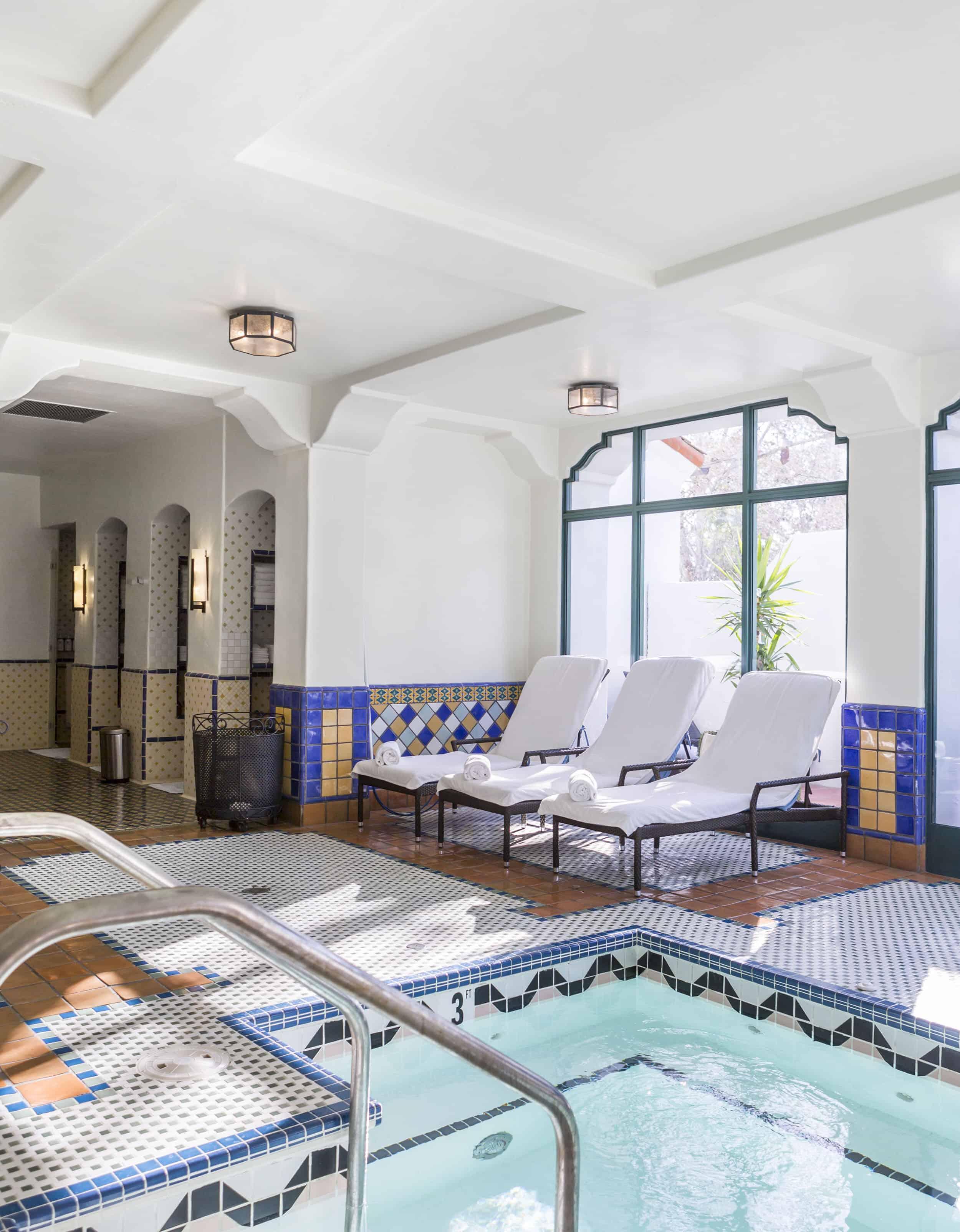 Indoor Hot Tub Sun Room Spanish Tile