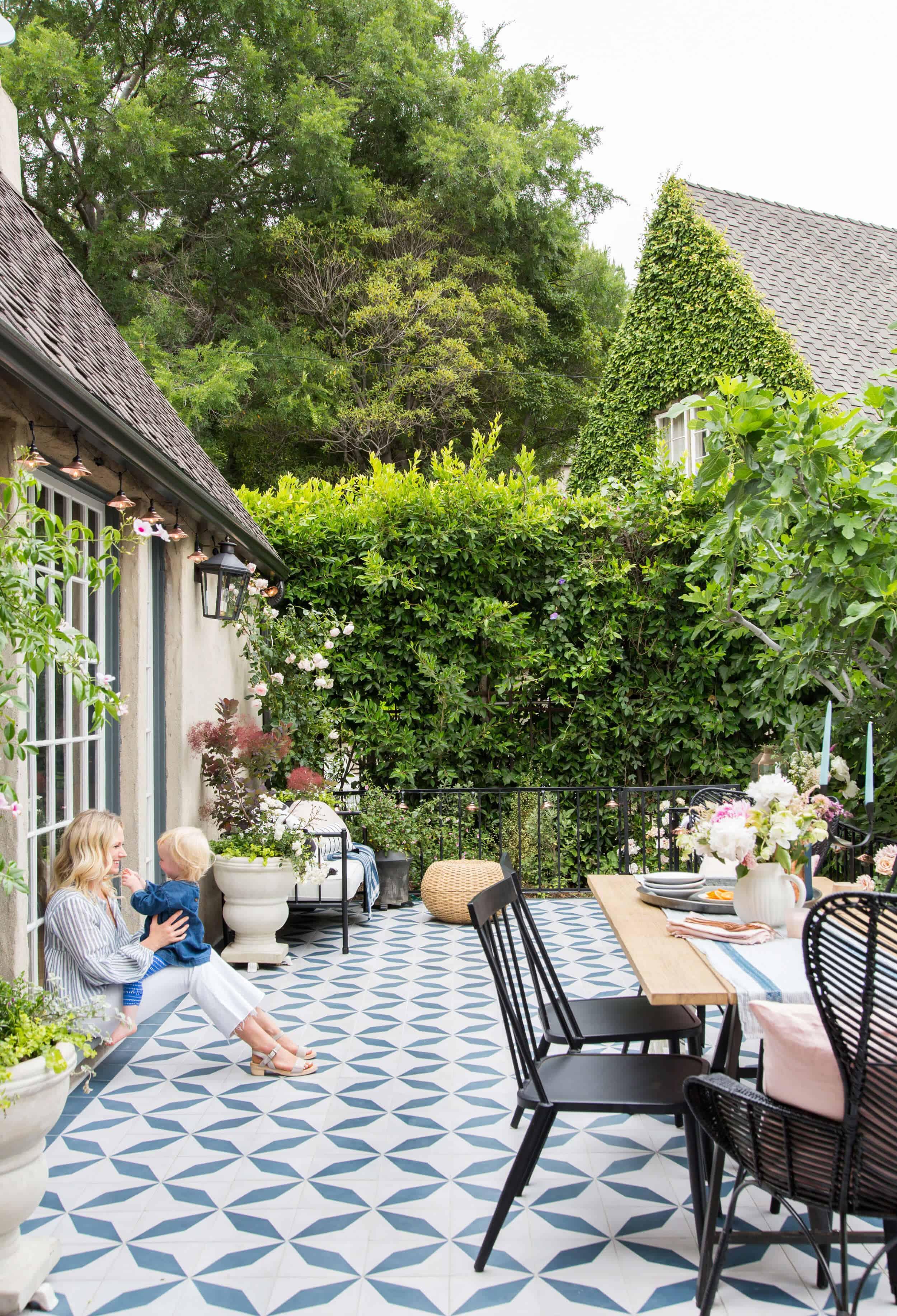 Emily Henderson House Beautiful Courtyard Tile Modern English Country 20