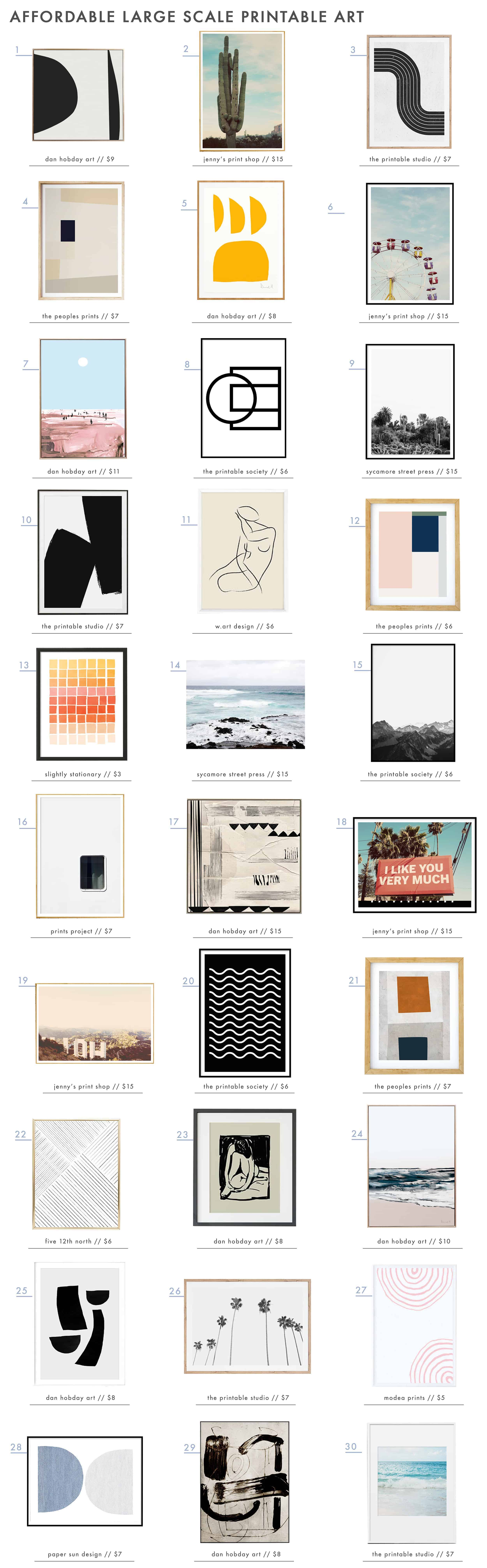 Emily Henderson Large Scale Art Printable Affordable Roundup1