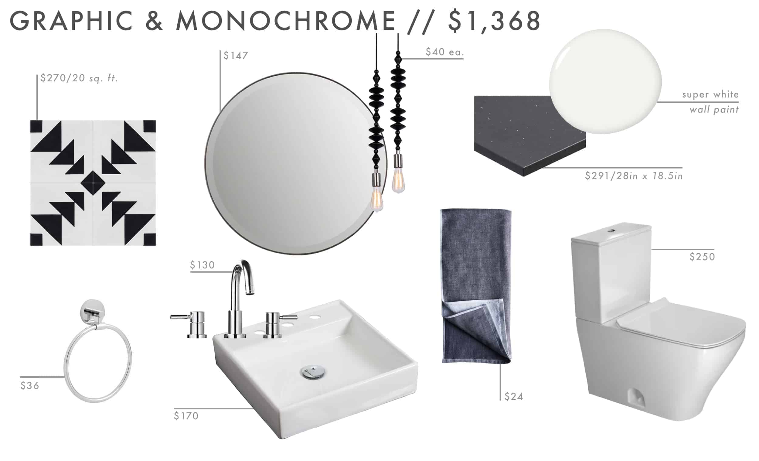 Emily Henderson Roundup Affordable Bathroom Budget Friendly Moodboard 011