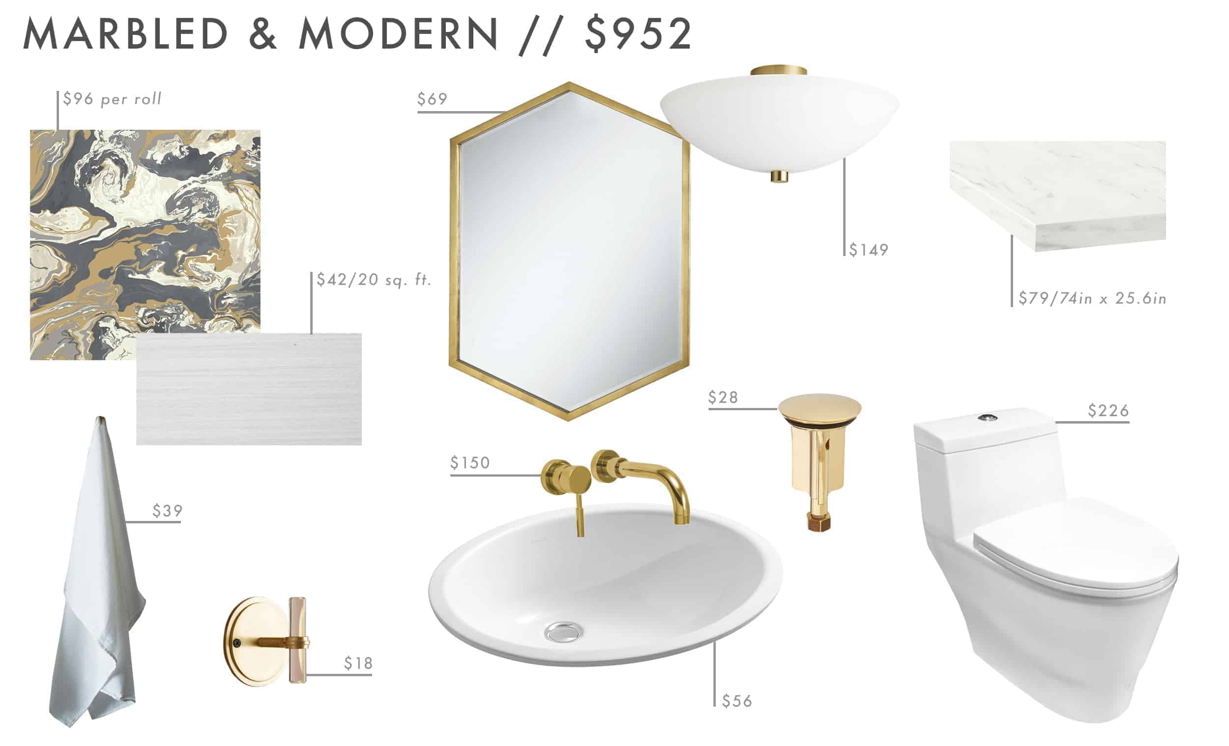 Emily Henderson Roundup Affordable Bathroom Budget Friendly Moodboard 09