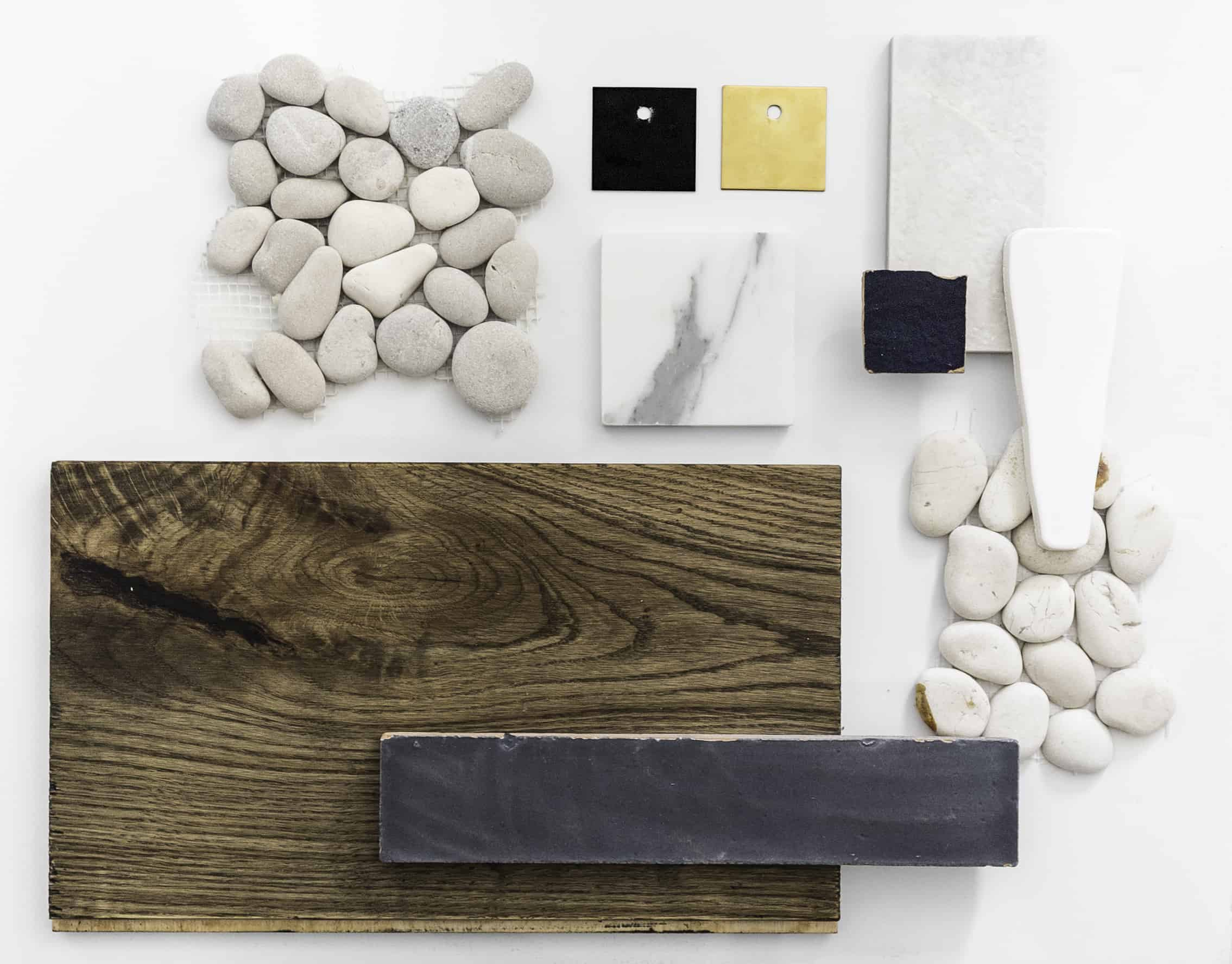 Bathroom Moodboard CompressedRustic Modern Cabin Mountain House Bathroom Moodboard Pebble Floor