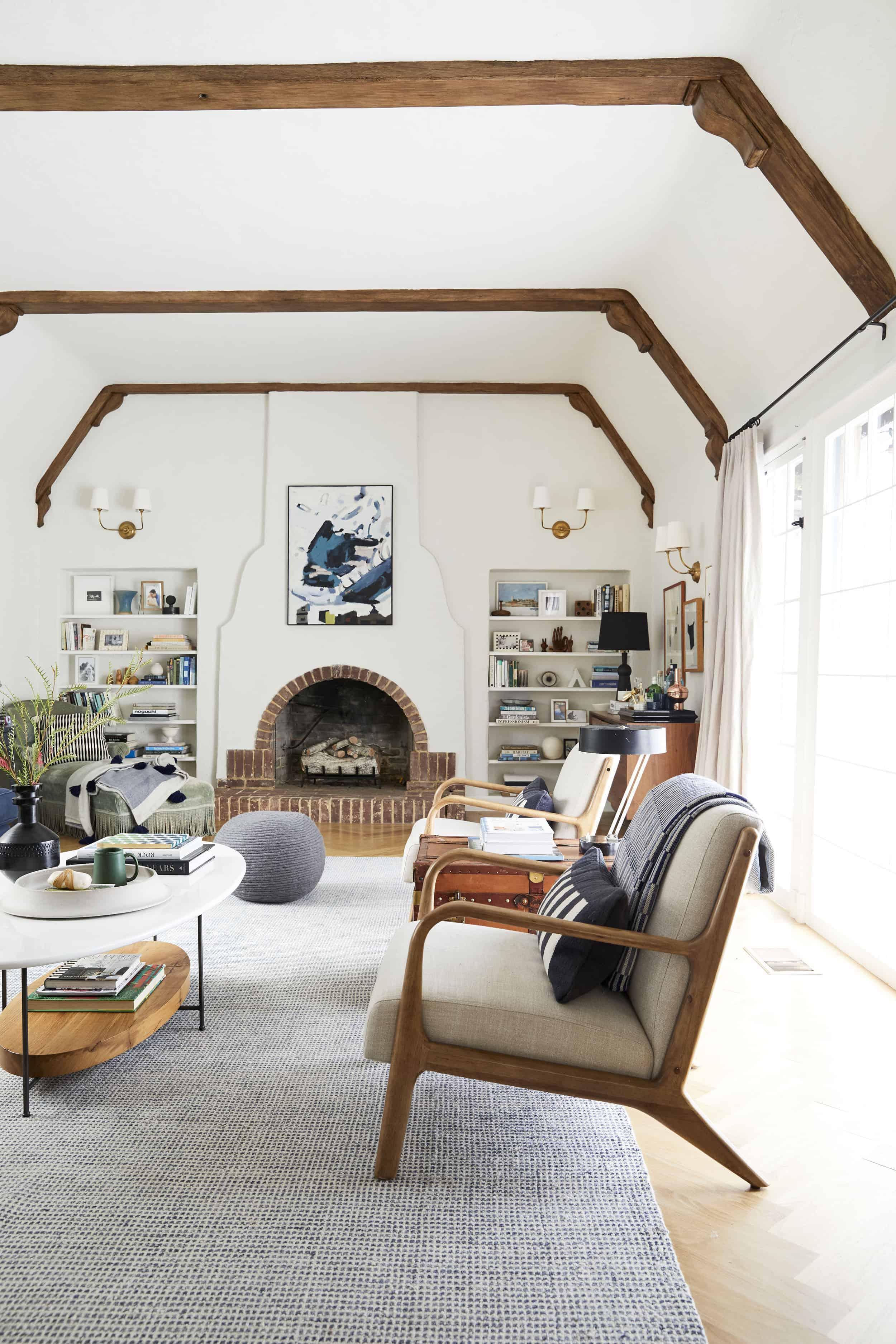 Bright English Tudor Modern Living Room Brick Fireplace