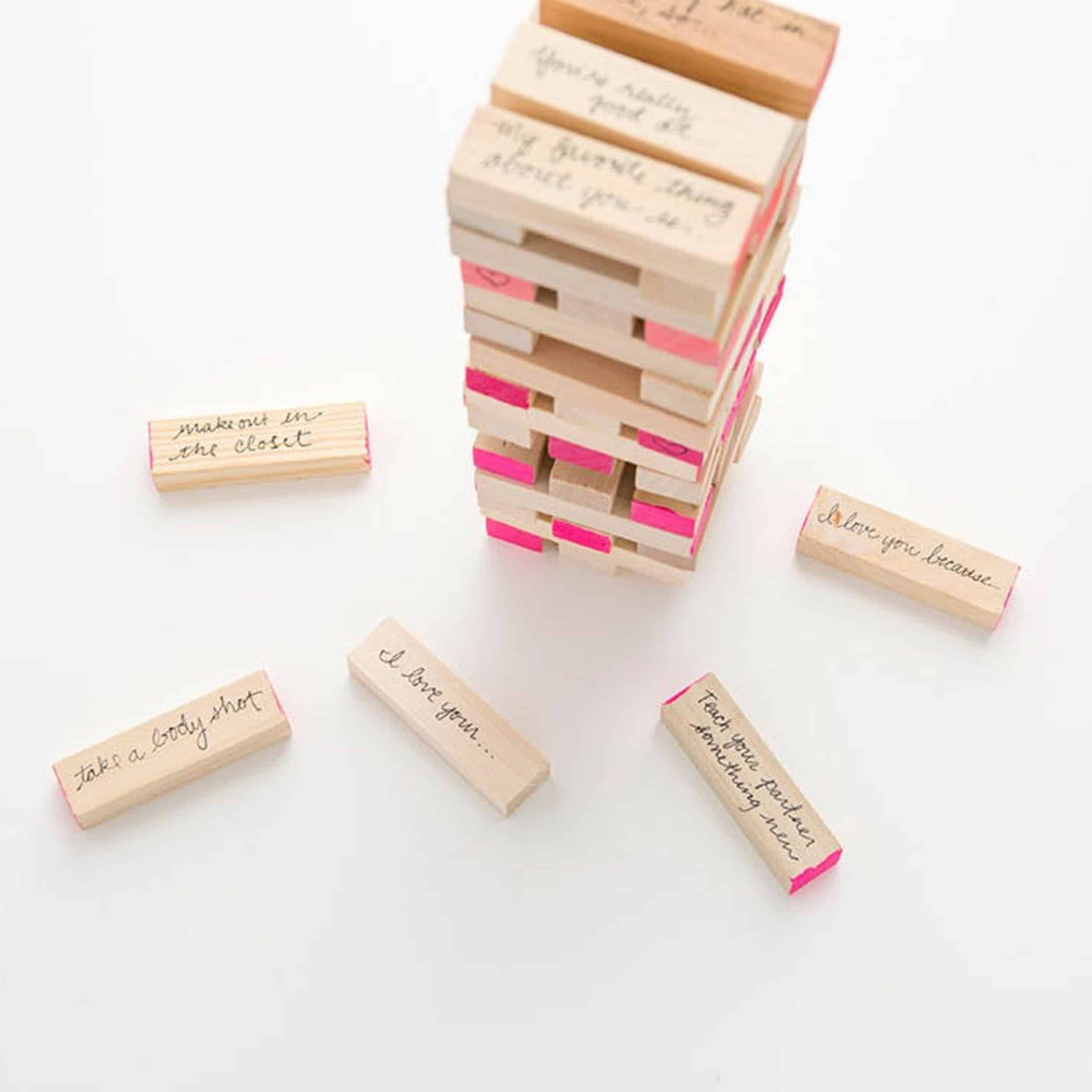 Valentines Day Heart Jenga Love Messages DIY Game