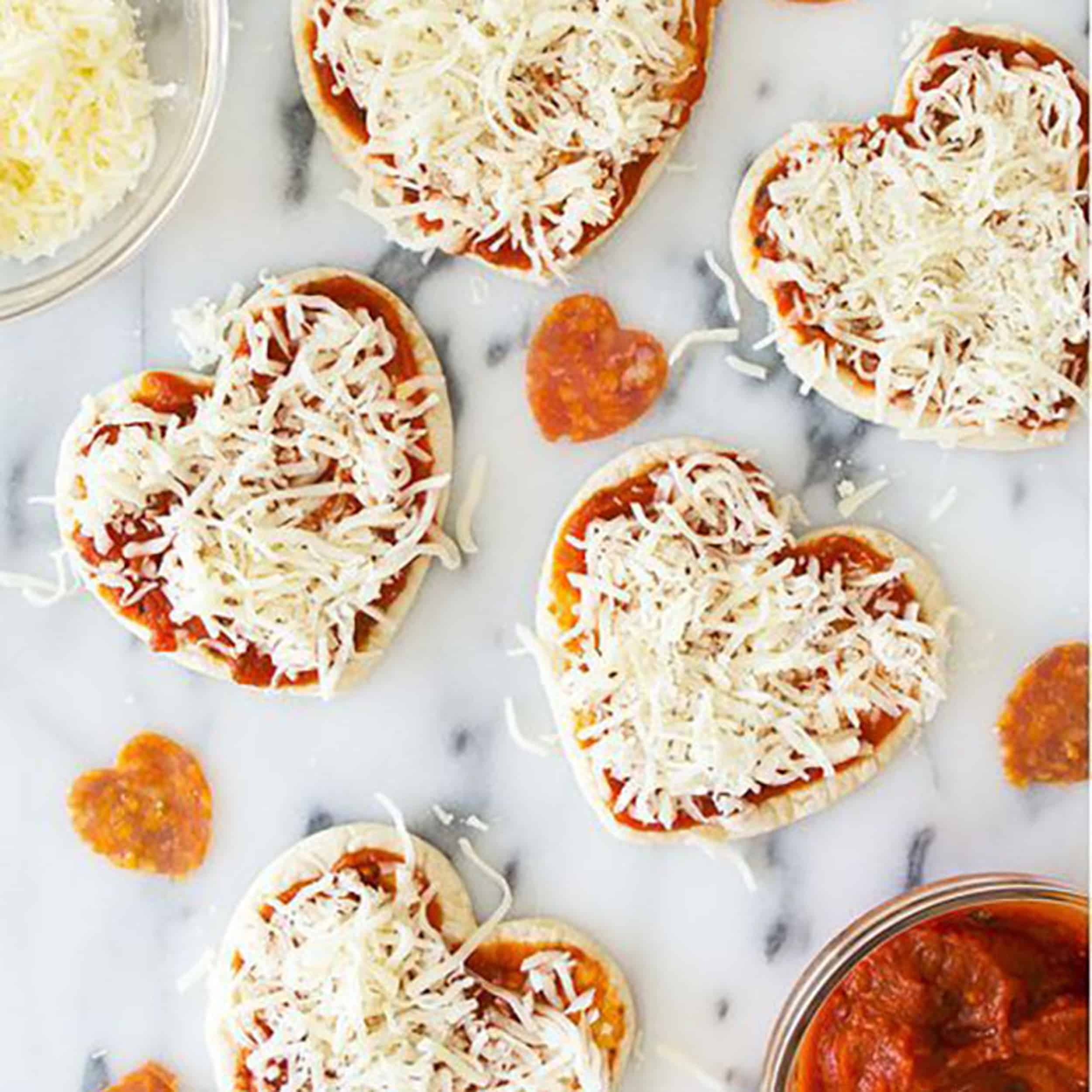Valentines Day Diy Food Heart shaped pizzas dinner romantic easy