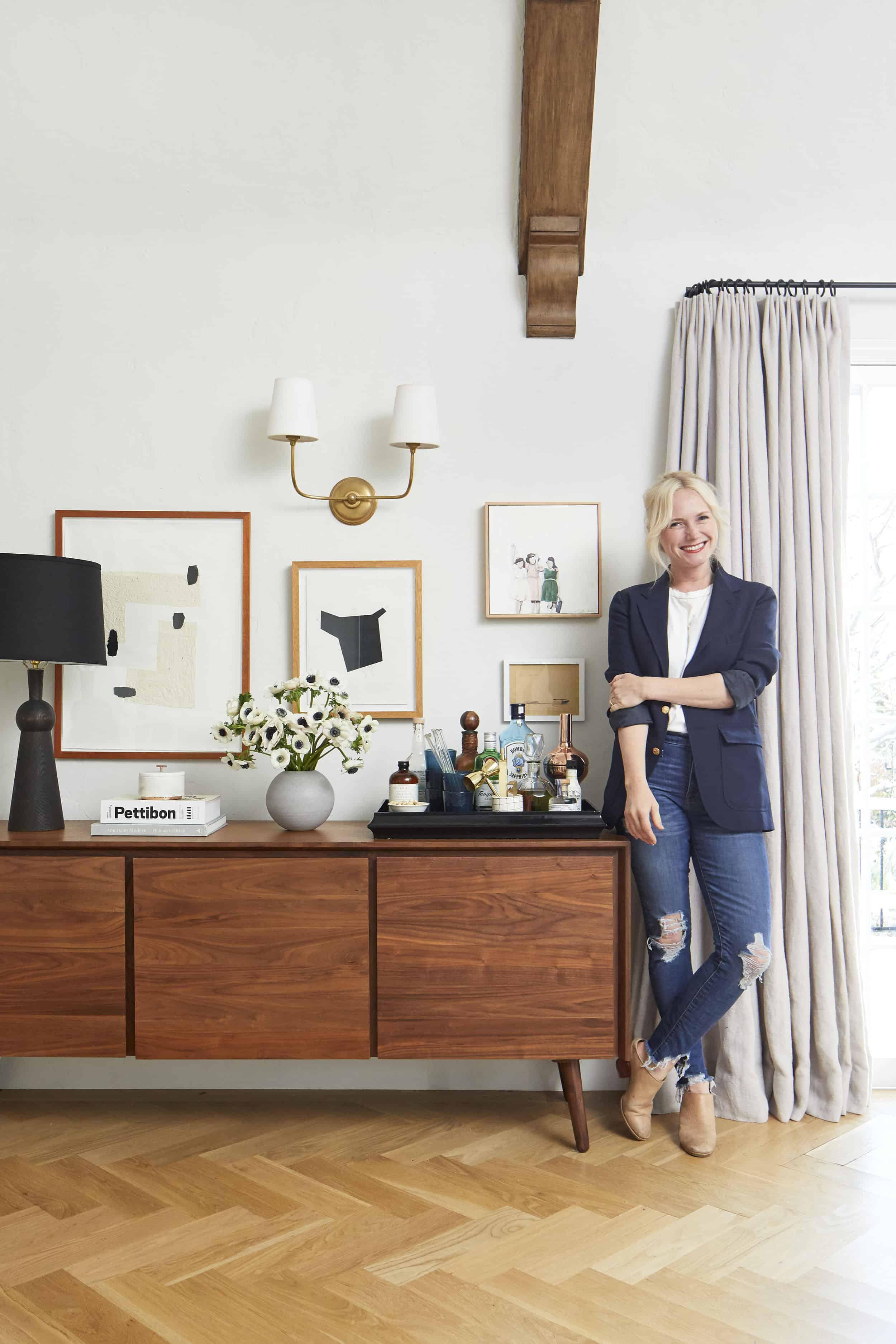 Emily Henderson Article Credenza Modern English Tudor Living Room 05
