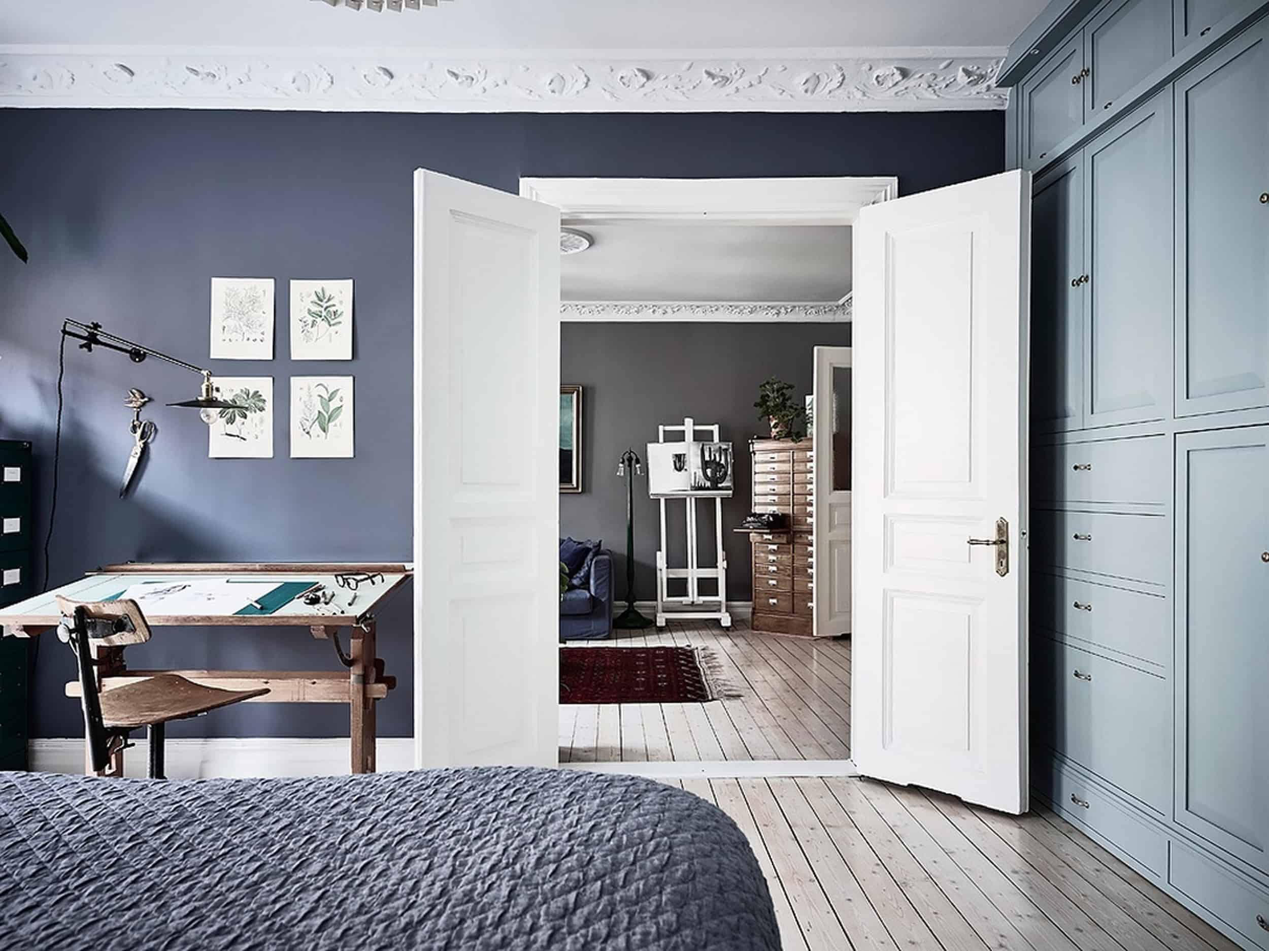 Emily Henderson Bedroom Living Room Colored Toned Walls Blue Green Grey2