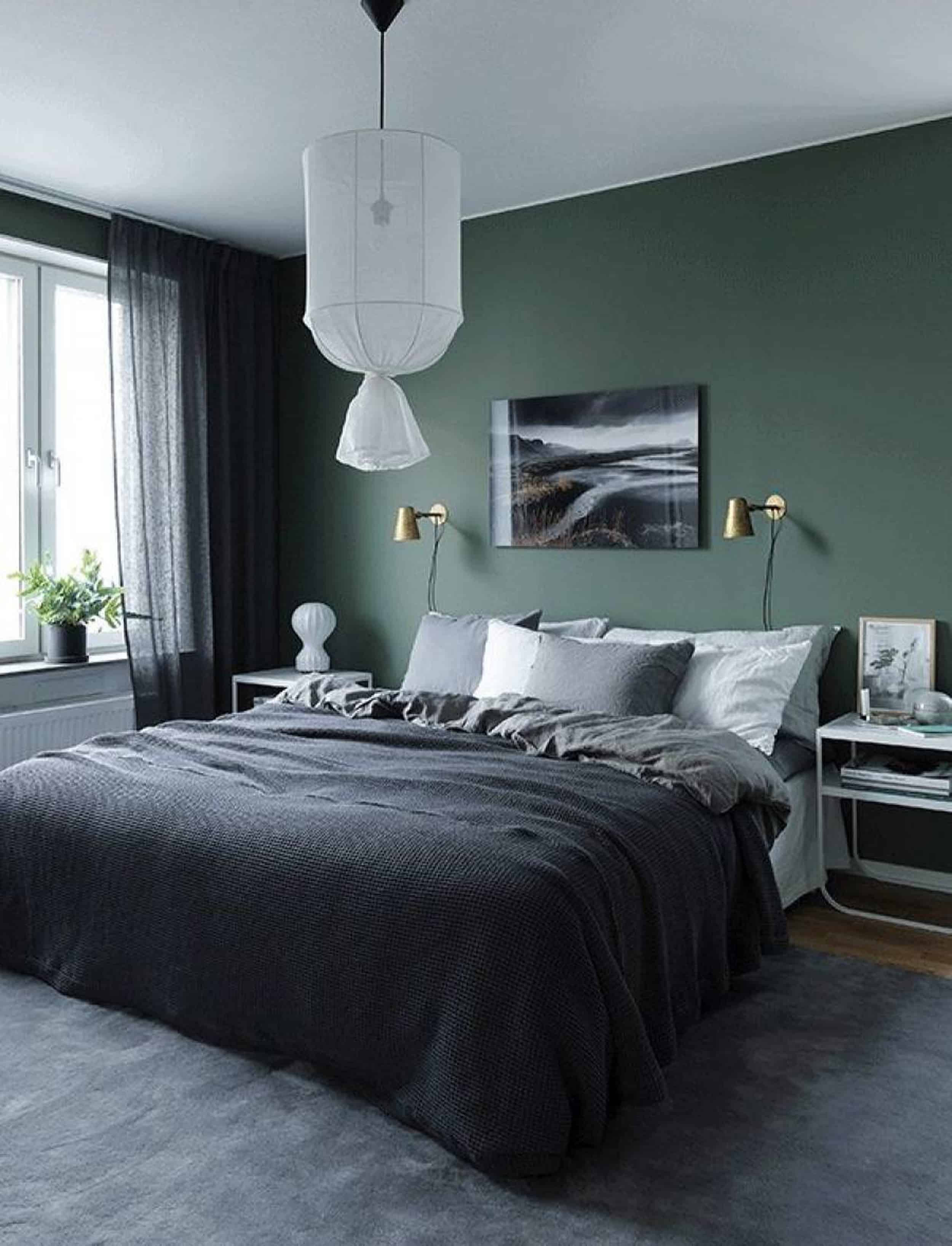 Emily Henderson Bedroom Living Room Colored Toned Walls Blue Green Grey3