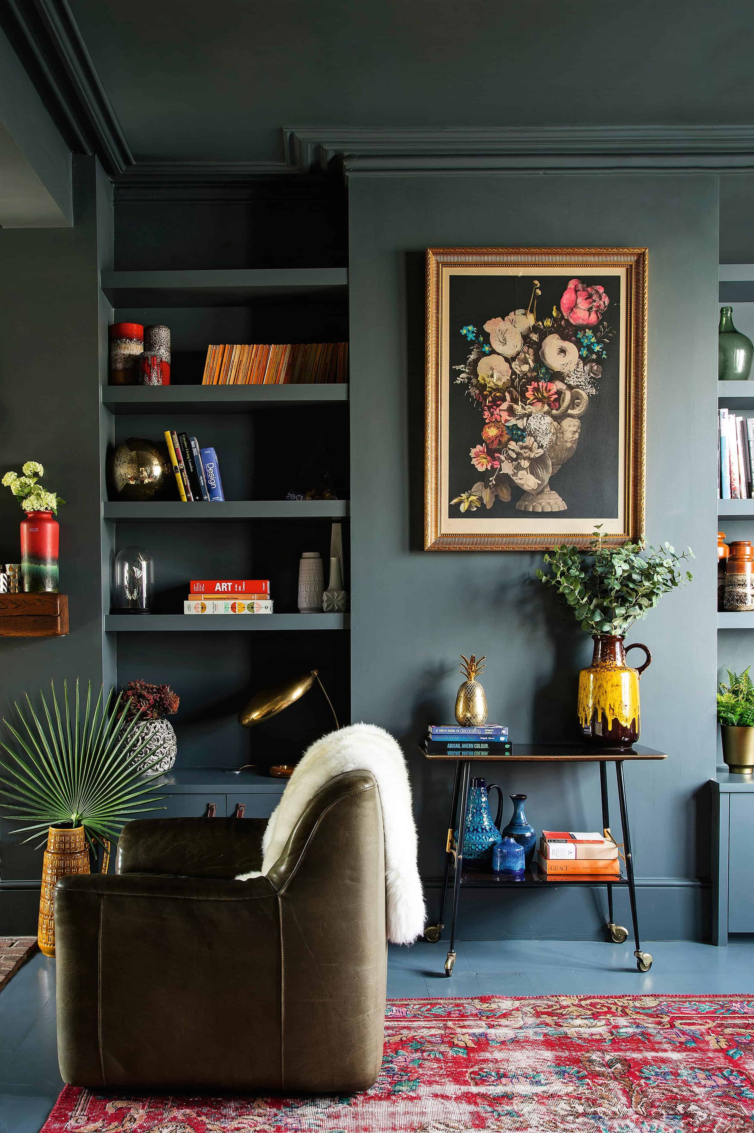 Emily Henderson Bedroom Living Room Colored Toned Walls Blue Green Grey9