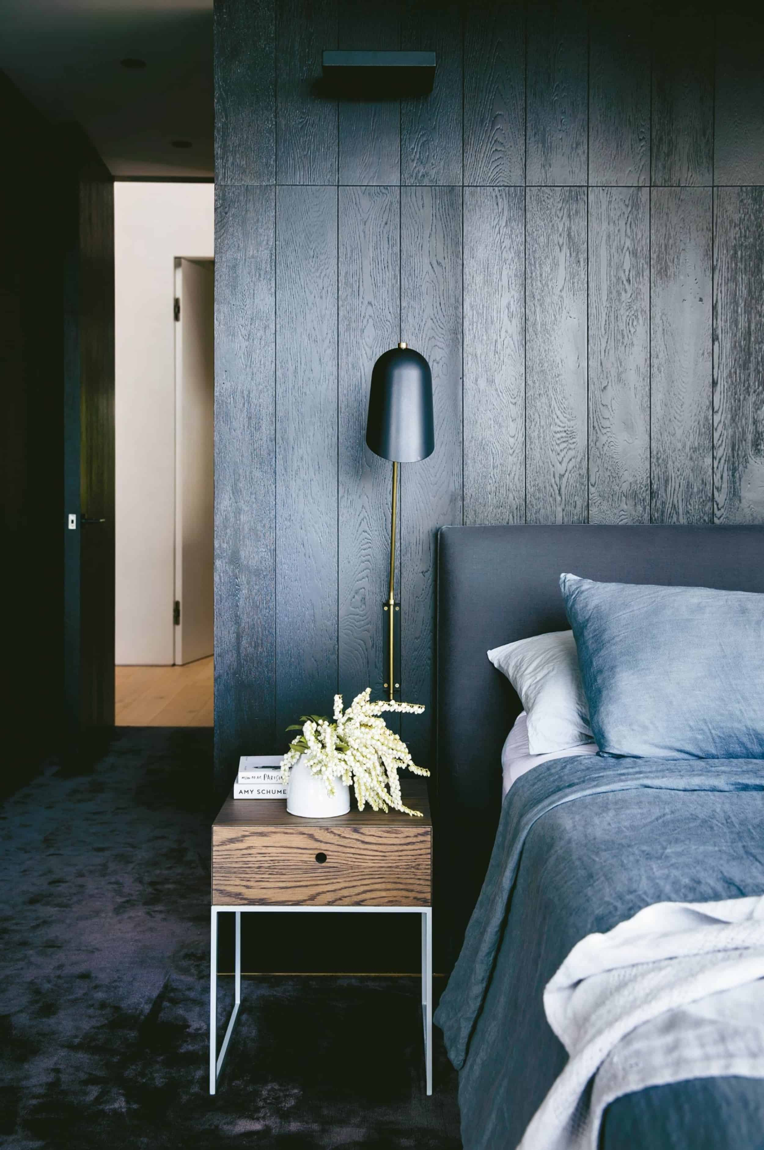 Emily Henderson Bedroom Living Room Colored Toned Walls Blue Green Grey Blue1