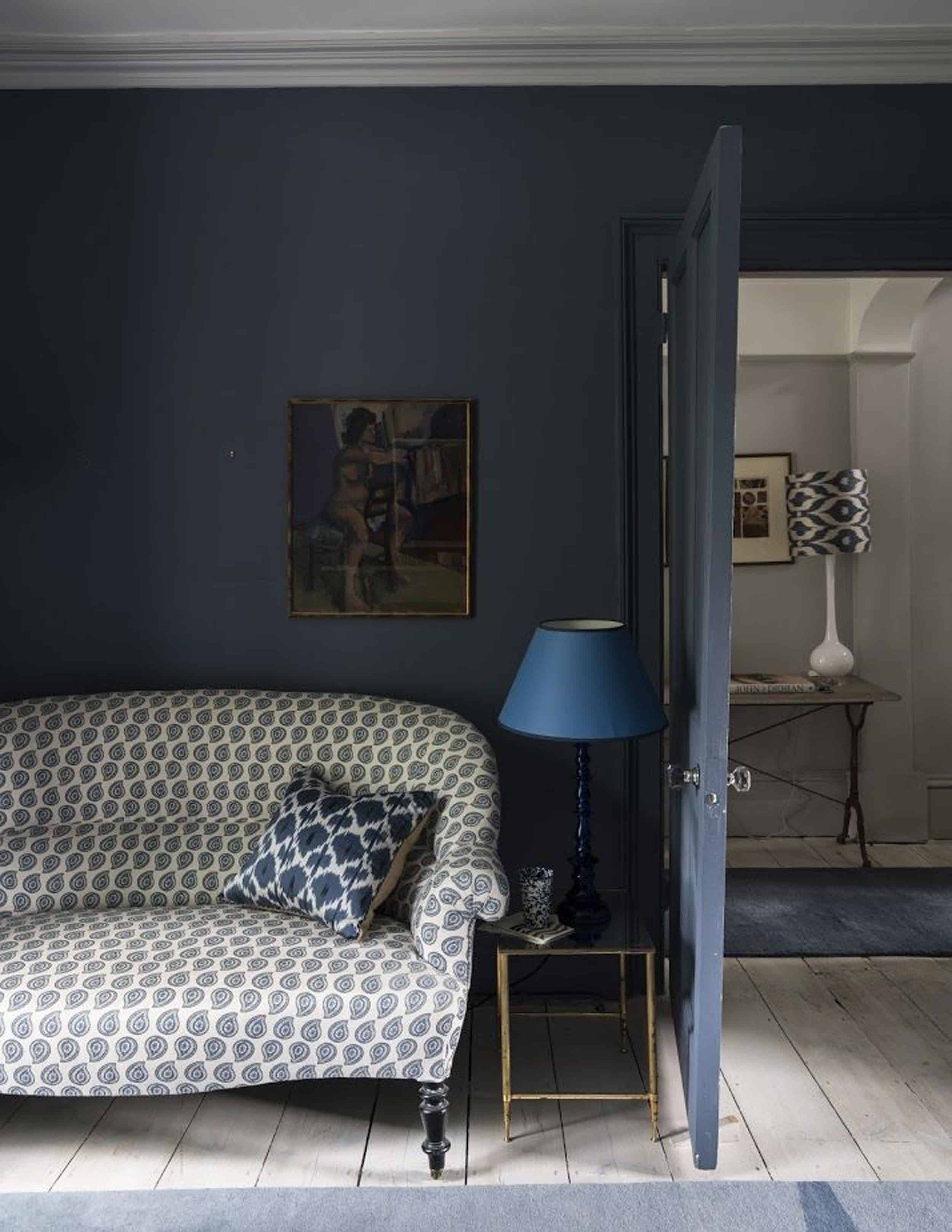 Emily Henderson Bedroom Living Room Colored Toned Walls Blue Green Grey Blue2
