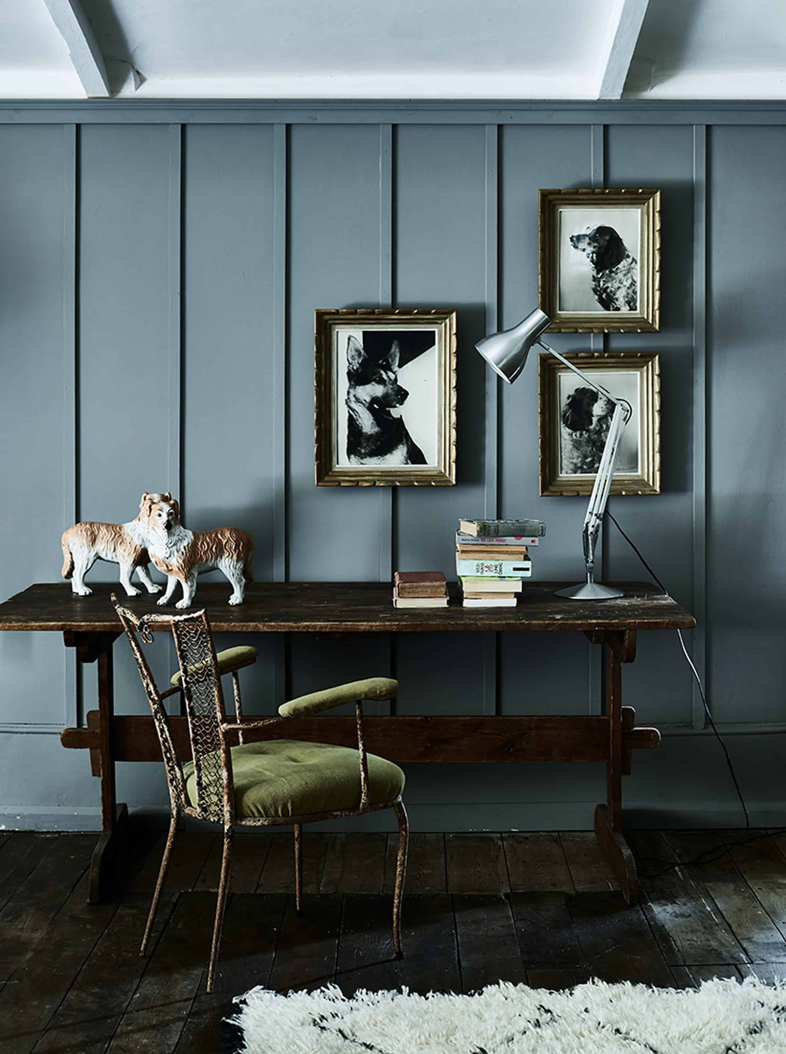 Emily Henderson Bedroom Living Room Colored Toned Walls Blue Green Grey Blue3