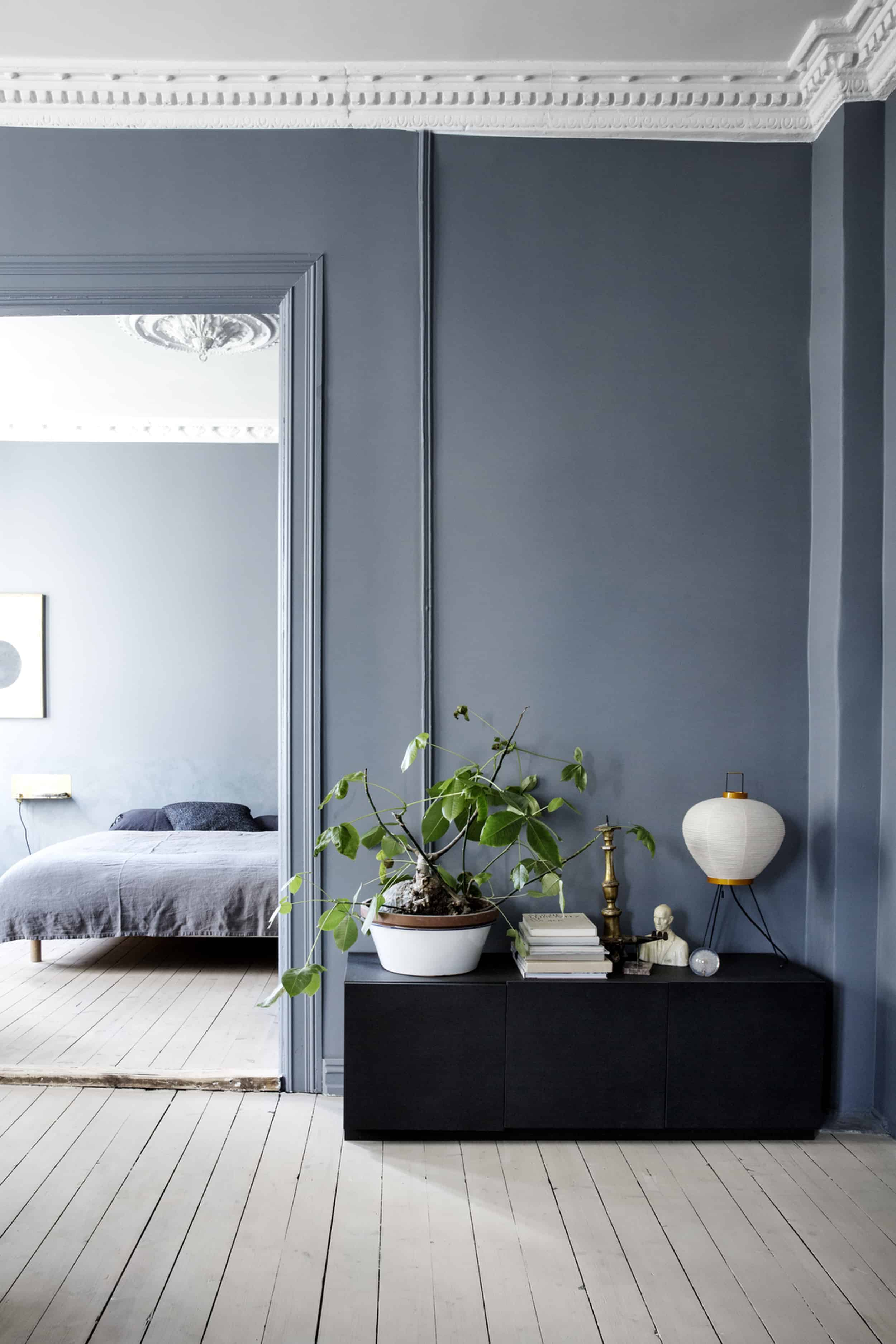 Emily Henderson Bedroom Living Room Colored Toned Walls Blue Green Grey Blue6