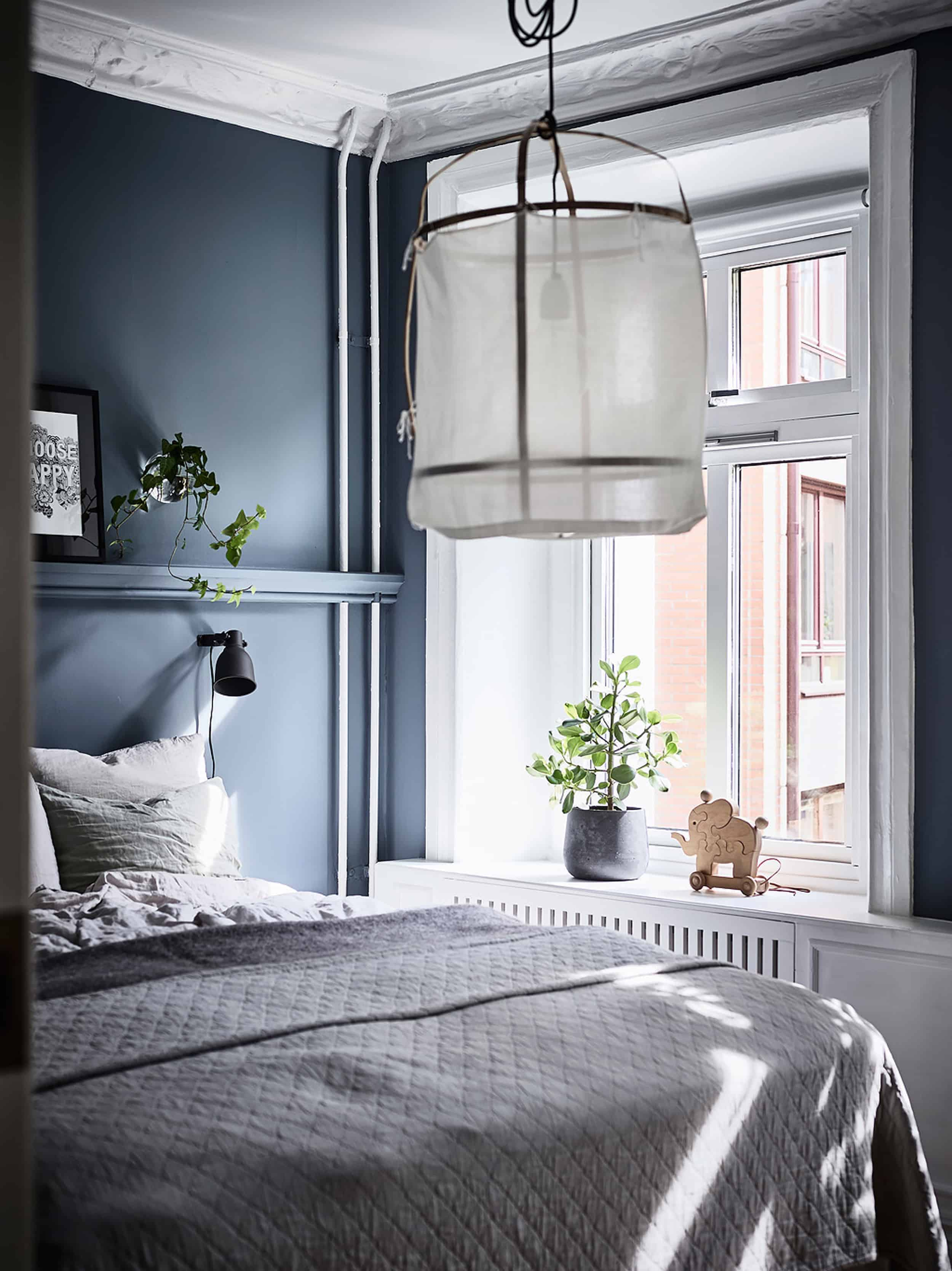 Emily Henderson Bedroom Living Room Colored Toned Walls Blue Green Grey Blue7