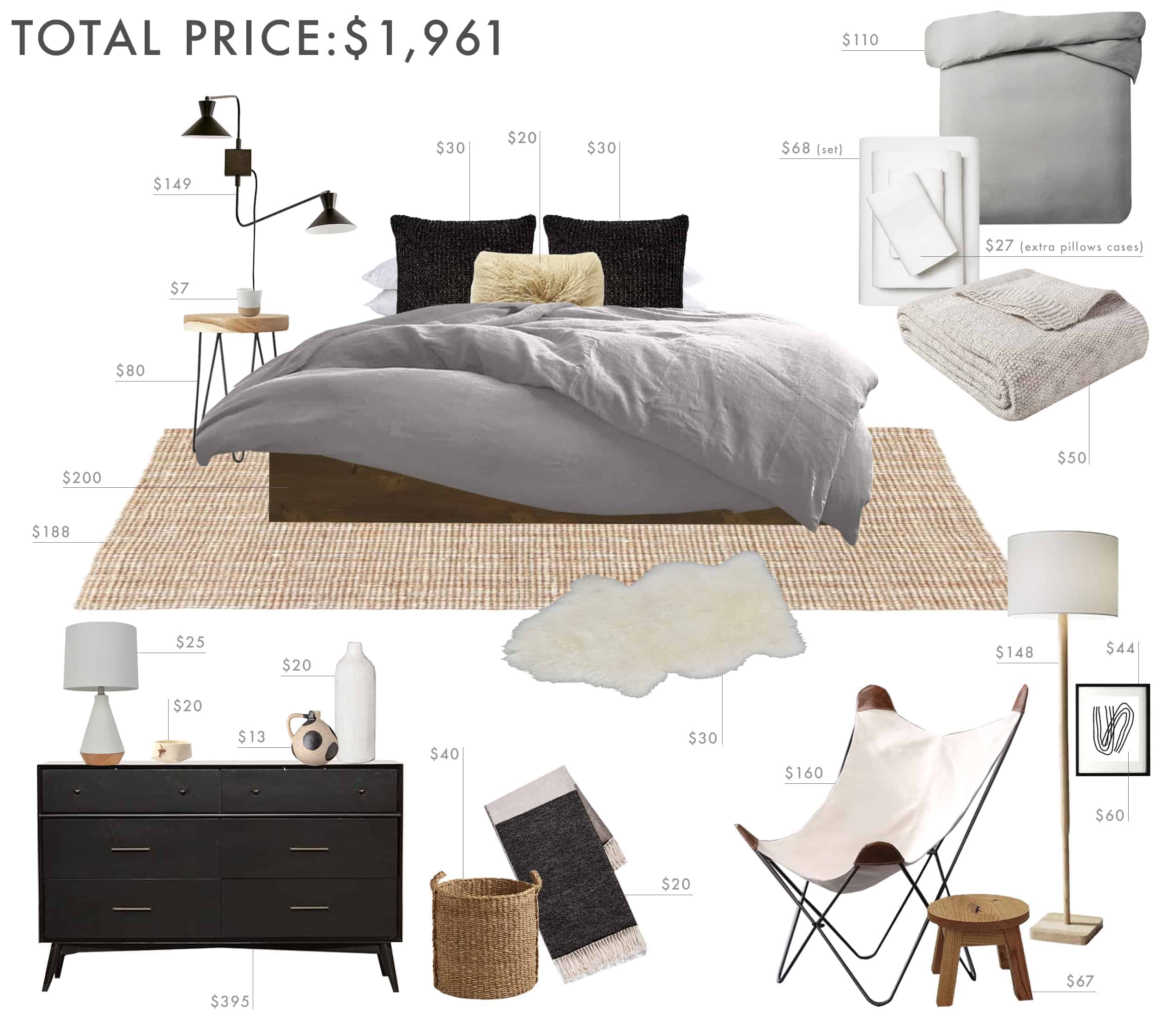 Emily Henderson Budget Room Bedroom Rustic Scandinavian Under 2k 1