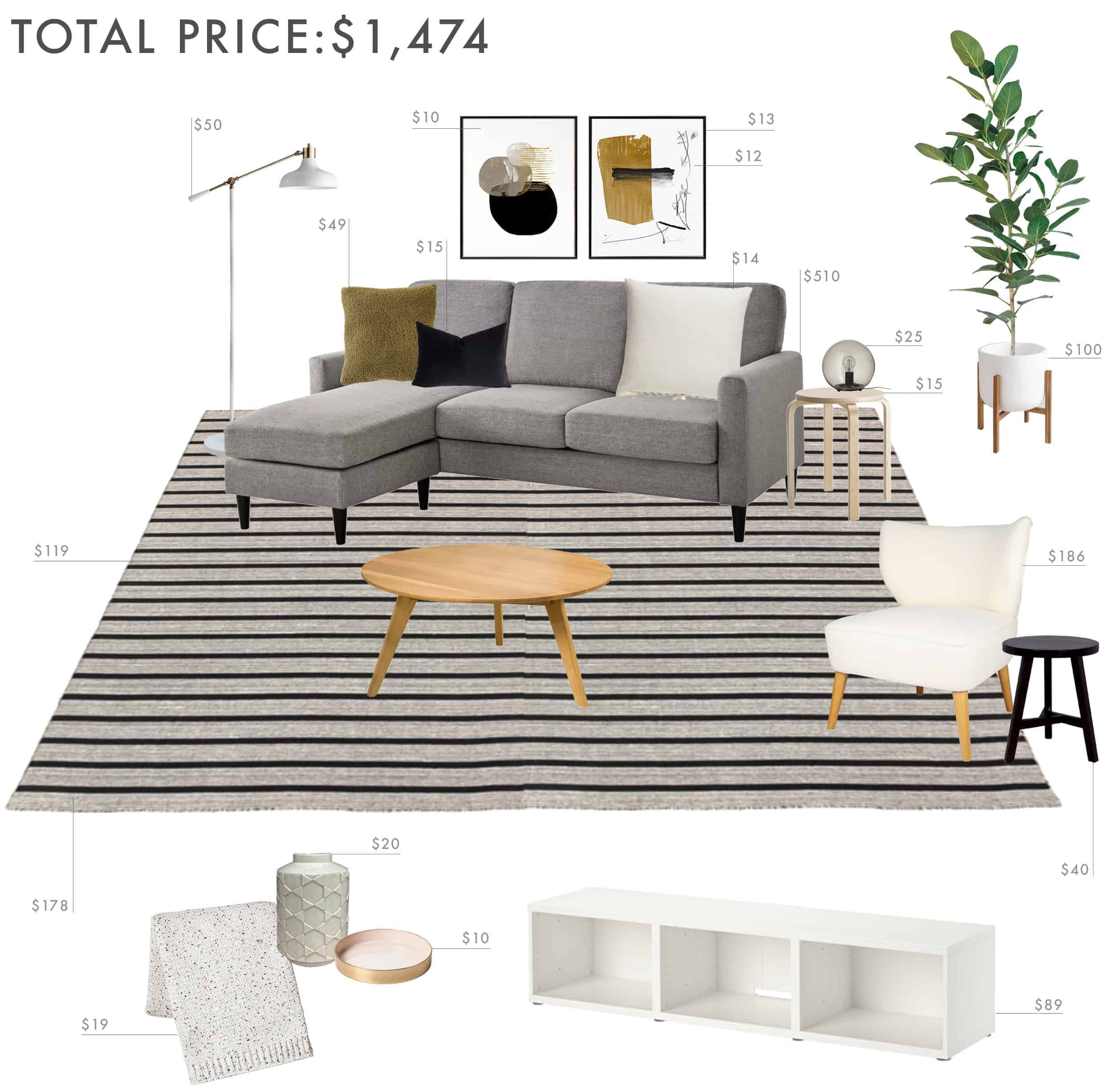 Emily Henderson Budget Room Living Room Sectional Neutral 1500 Final