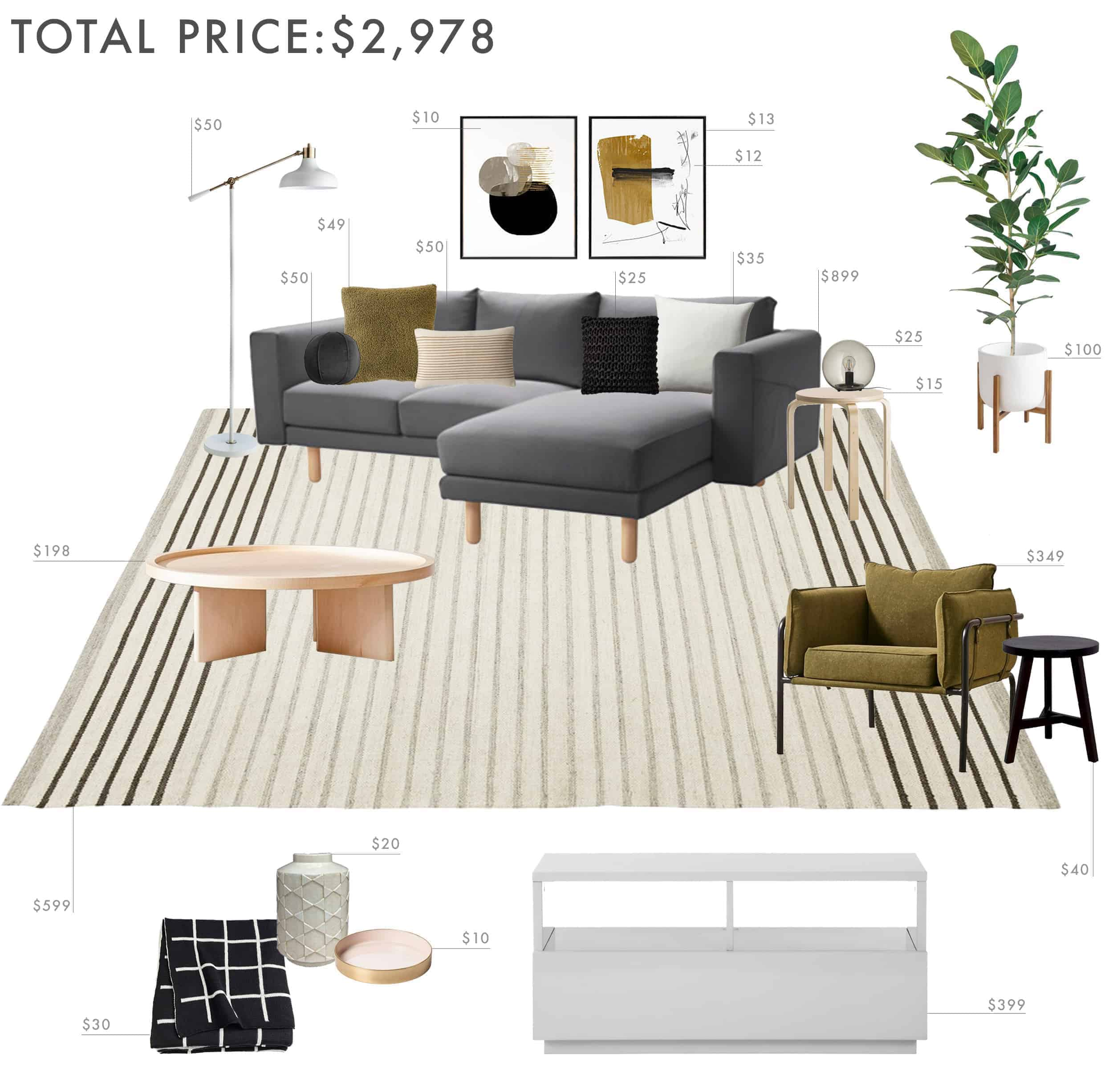 Emily Henderson Budget Room Living Room Sectional Neutral 3000 Final