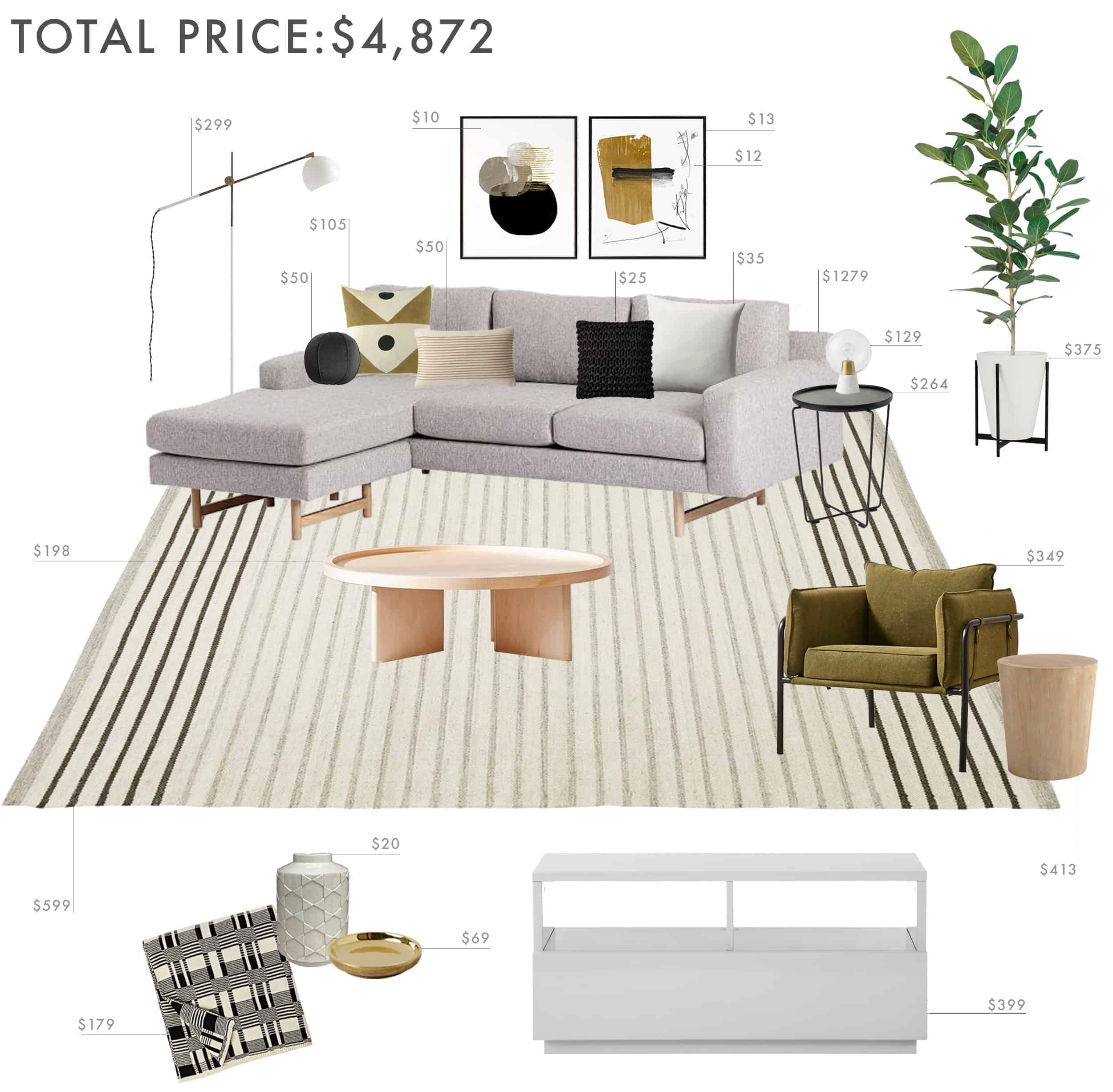Emily Henderson Budget Room Living Room Sectional Neutral 5000 Final