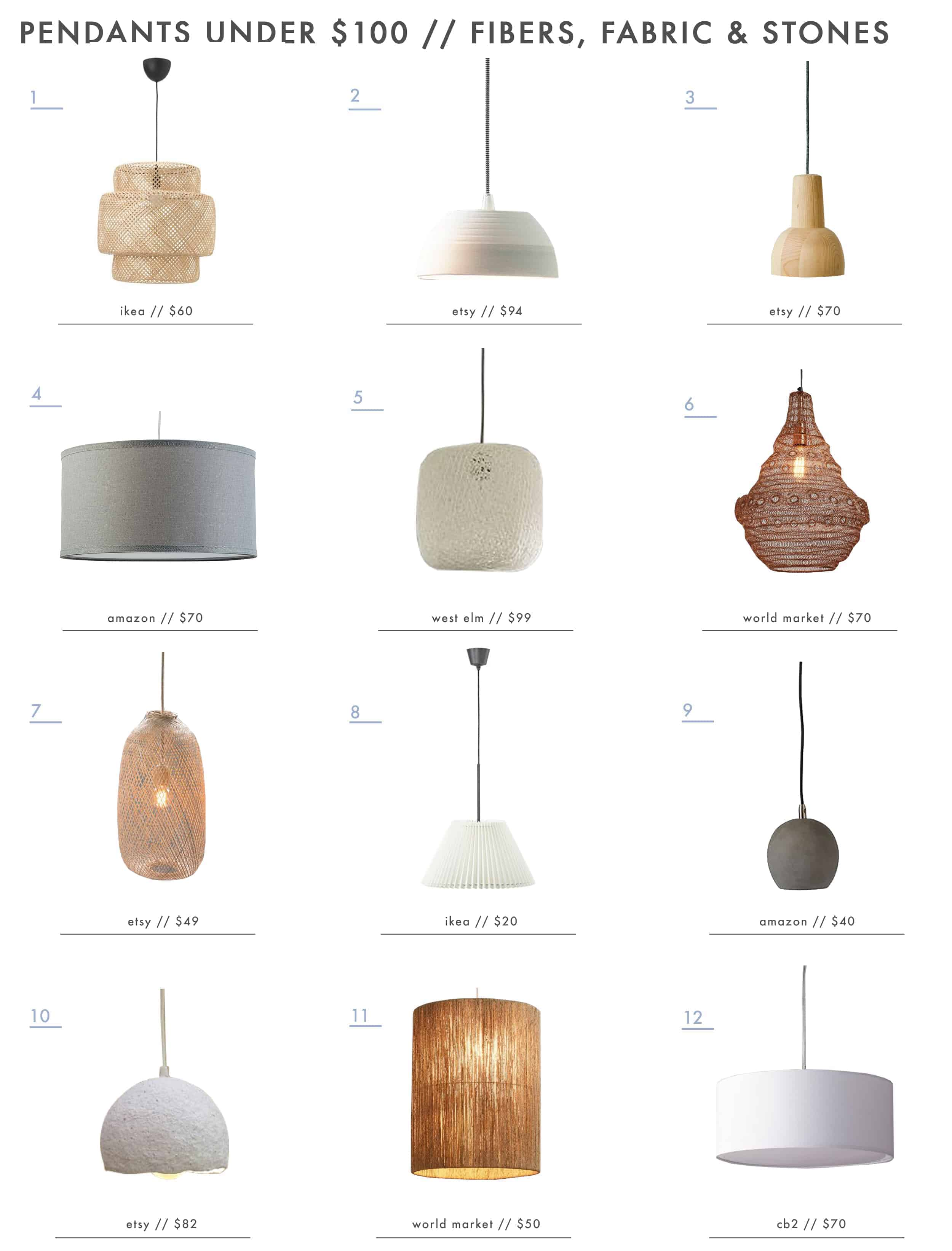 Emily Henderson Lighting Pendants Under 100 Fiber Shades Ceramic Wood