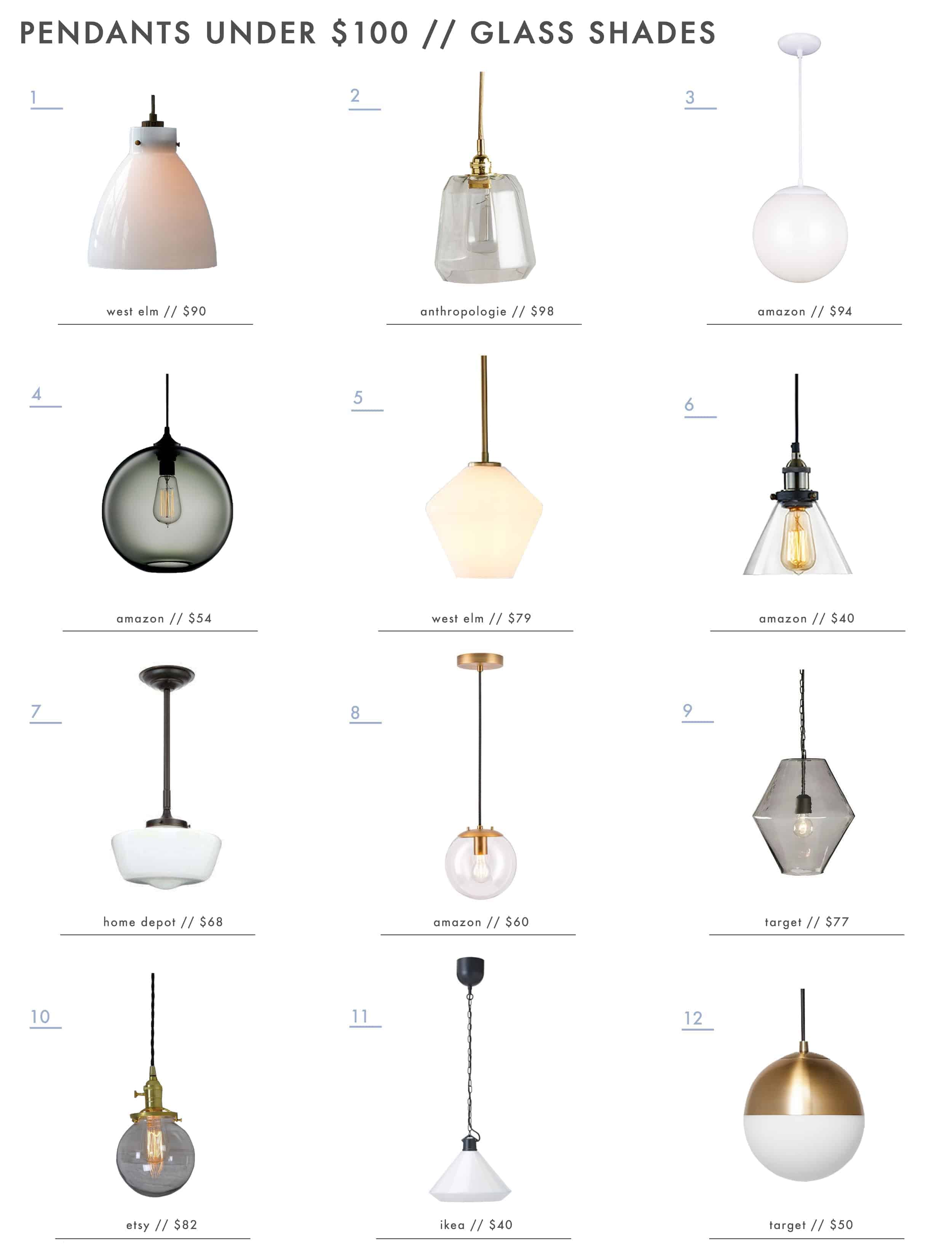 Emily Henderson Lighting Pendants Under 100 Glass Shades