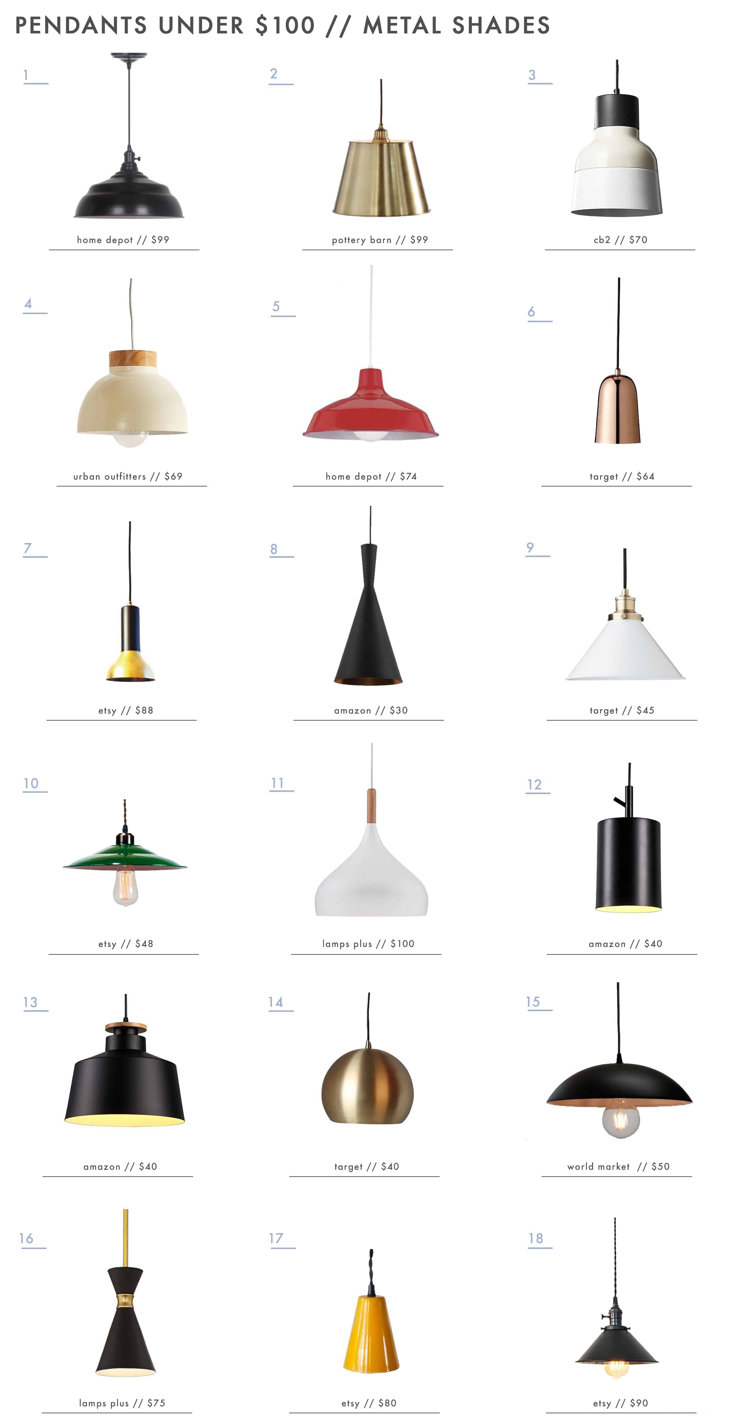 Emily Henderson Lighting Pendants Under 100 Metal Shades