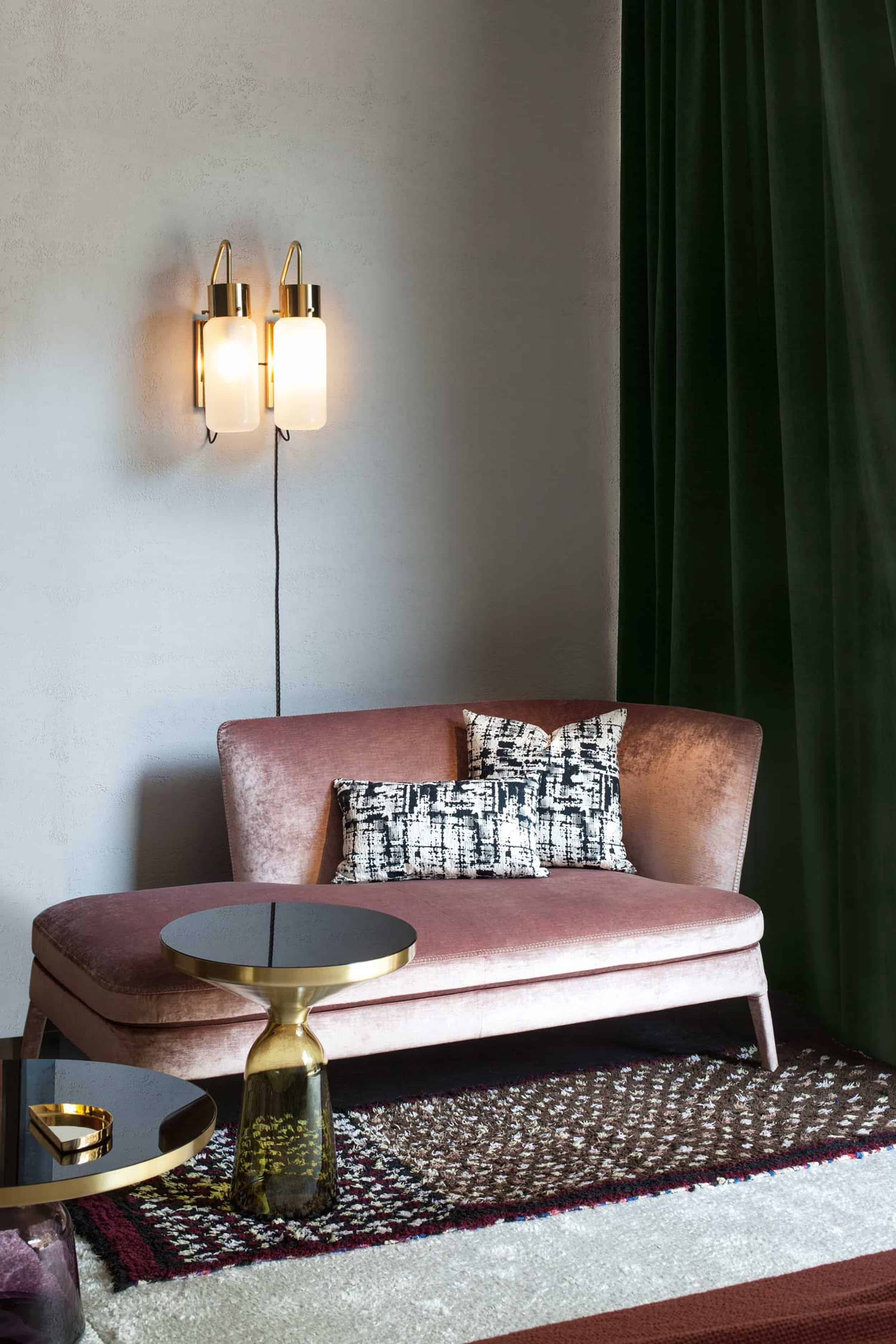 Modern Victorian Pink sofa double sconce