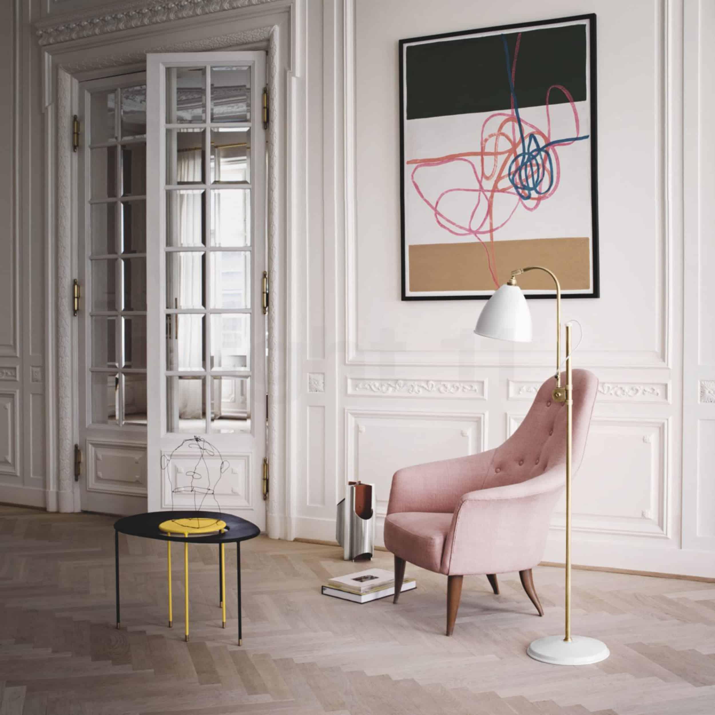Modern Victorian Pink chair french doors herring bone floors