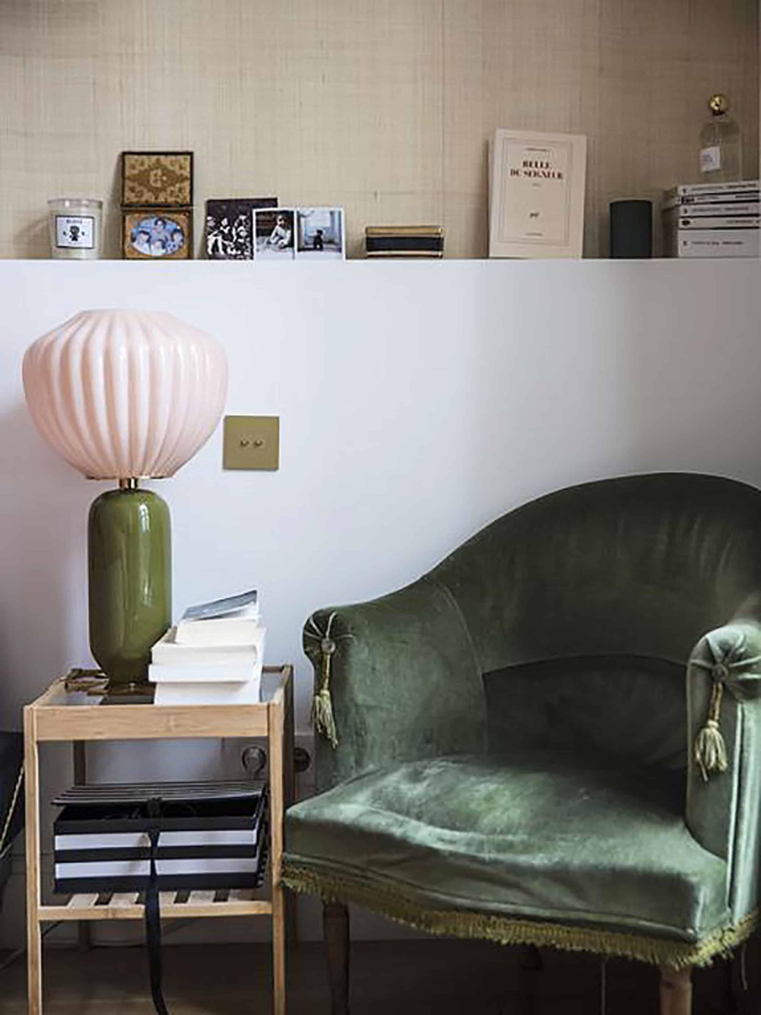 Modern Victorian Table lamp green velvet chair seating nook