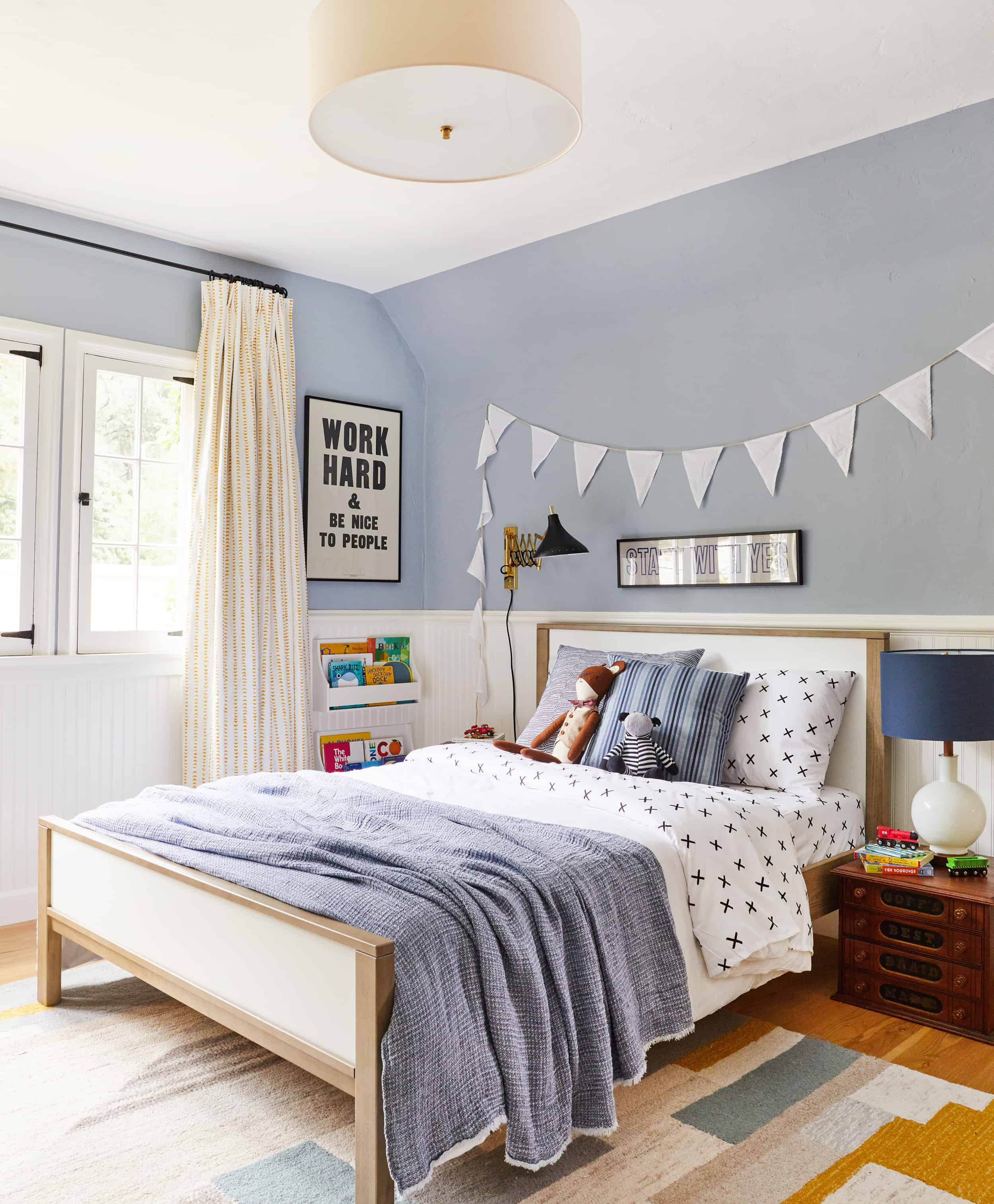 boys bedroom blue walls neutral vintage
