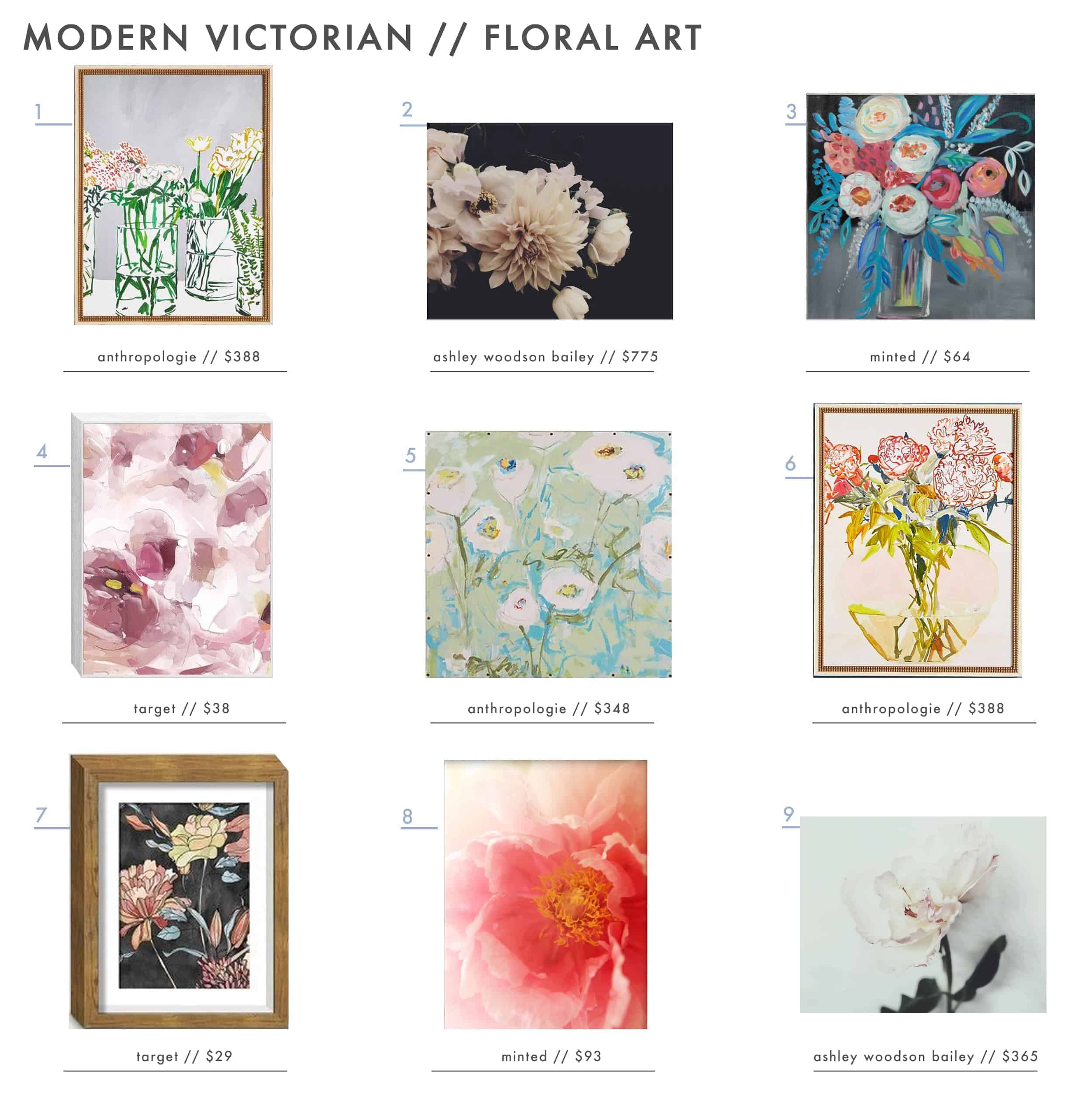 Emily Henderson Modern Victorian Roundup Shopping Best Art Online Floral Botanical How To
