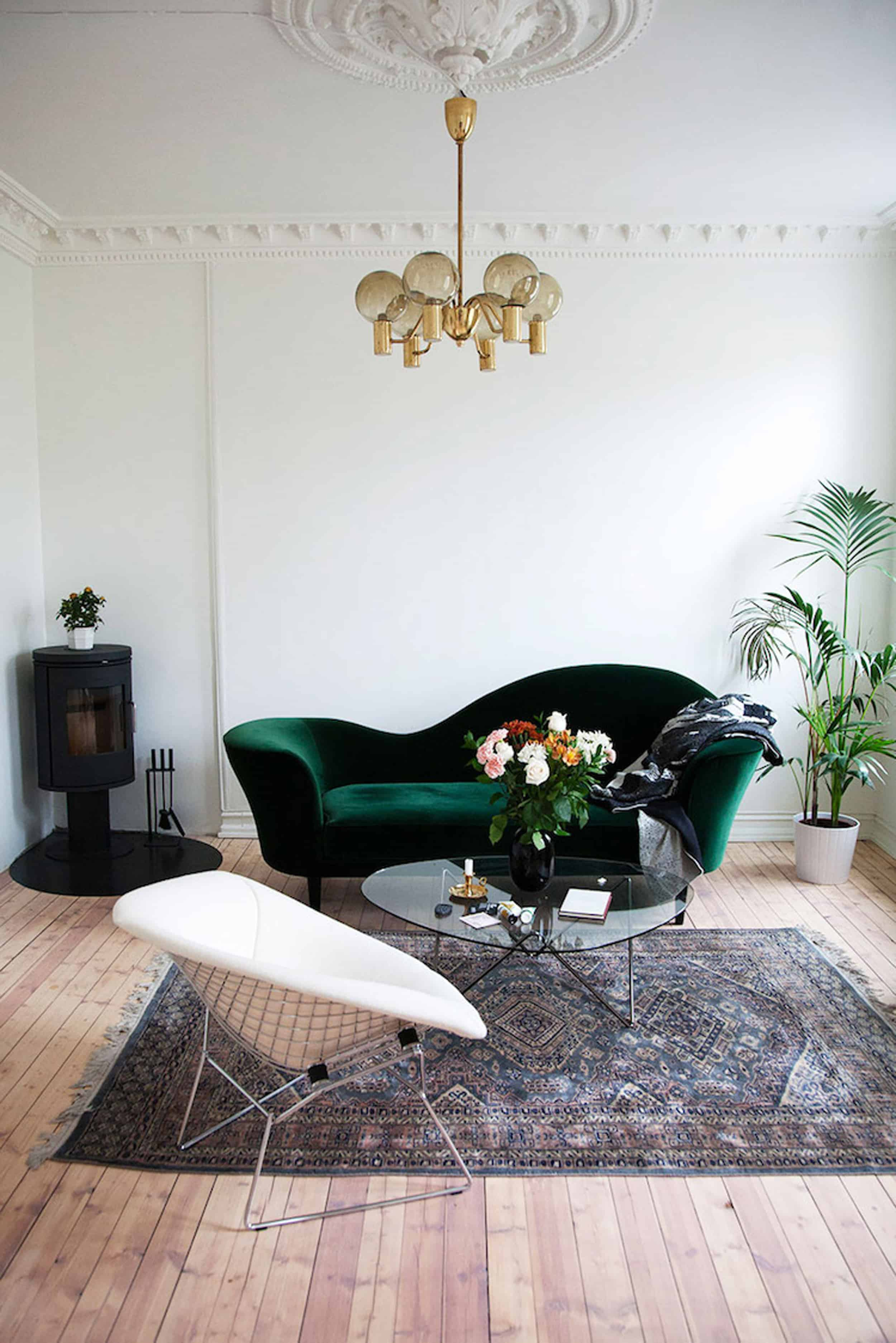 Emily Henderson Modern Victorian Trend Eclectic Boho Moody Velvet Tufted Fringe Detailed Dramatic Living Room Bedroom 1