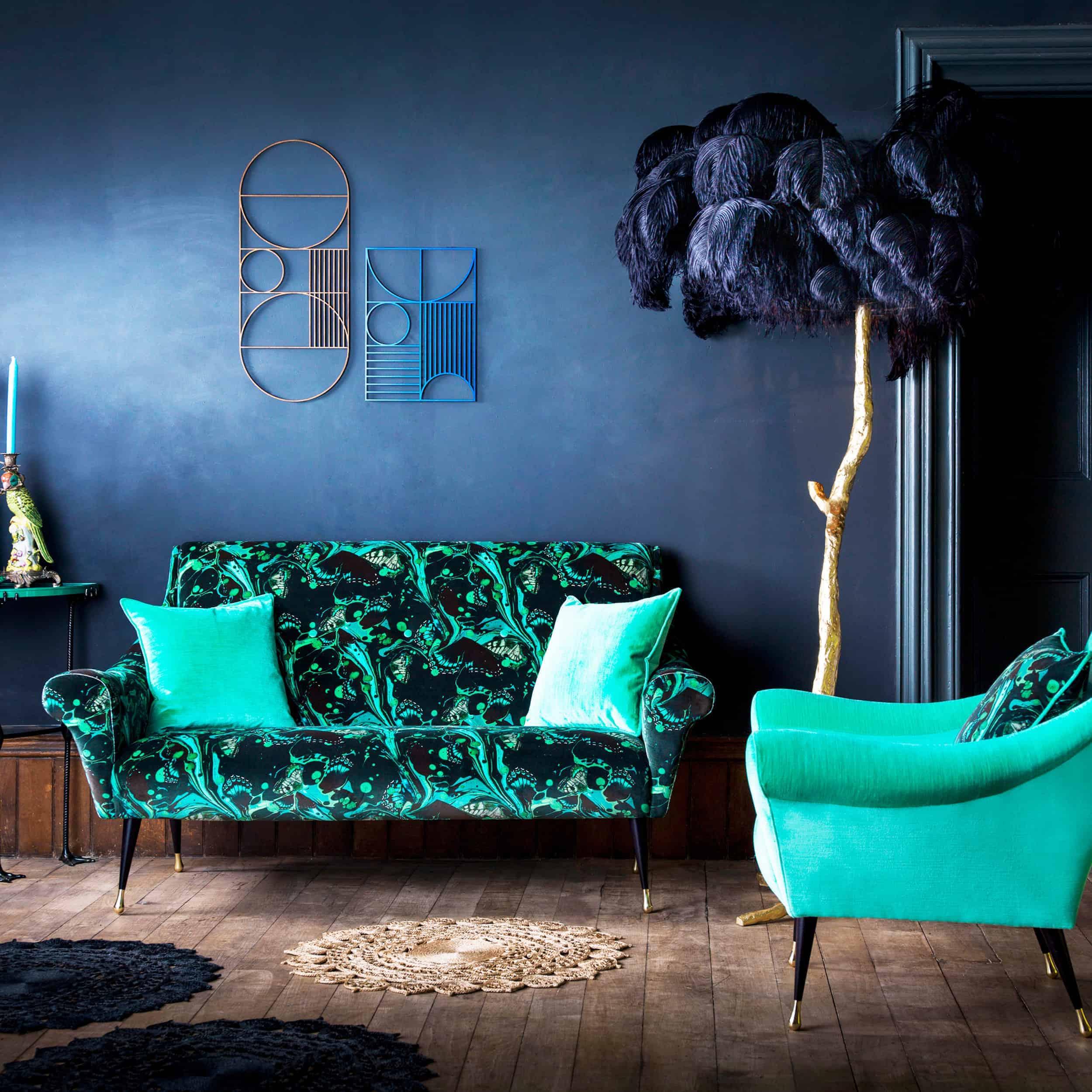 Emily Henderson Modern Victorian Trend Eclectic Boho Moody Velvet Tufted Fringe Detailed Dramatic Living Room Bedroom 12
